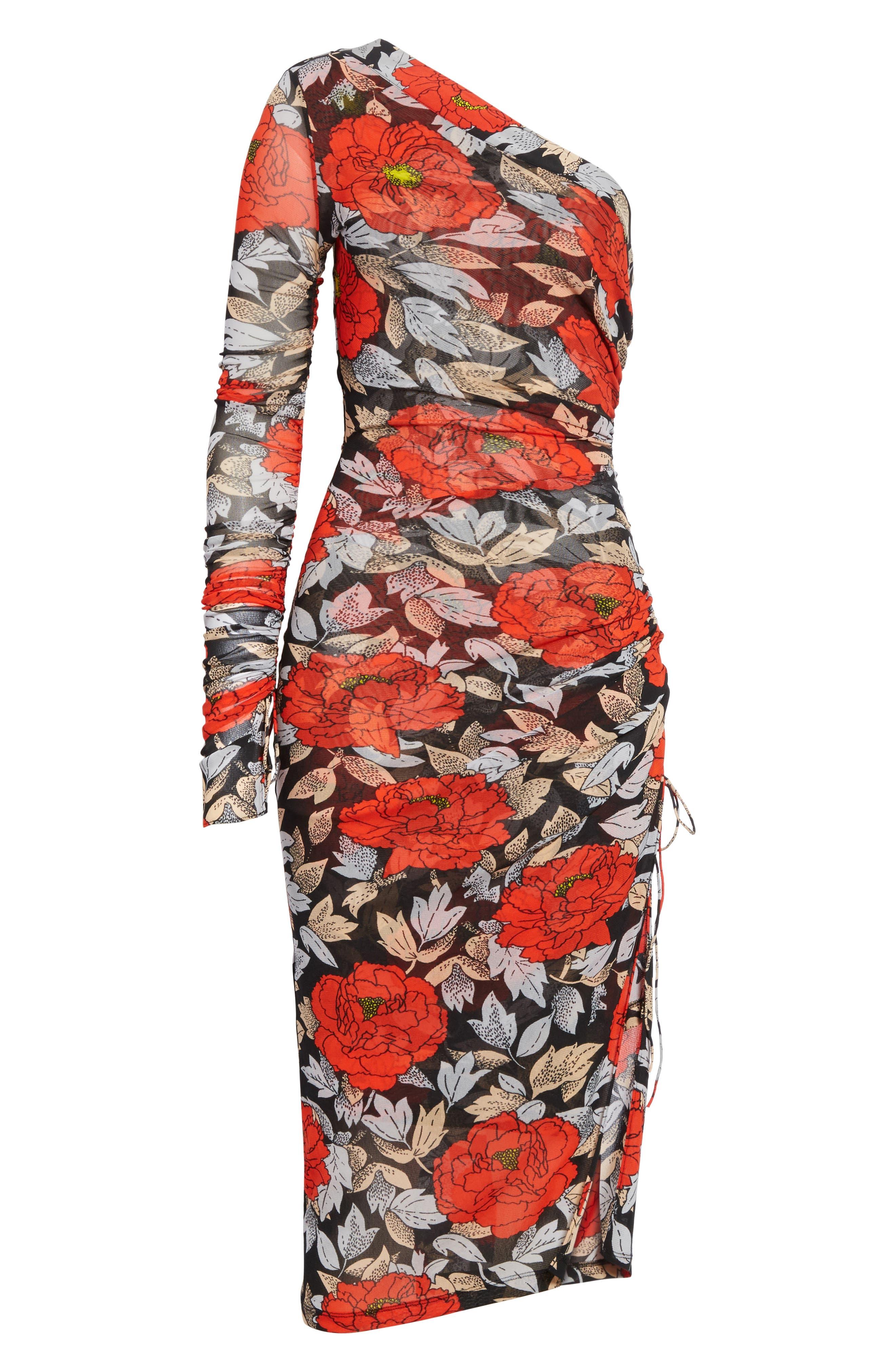 Diane von Furstenberg Ruched One-Shoulder Dress,                             Alternate thumbnail 6, color,                             Boswell Black