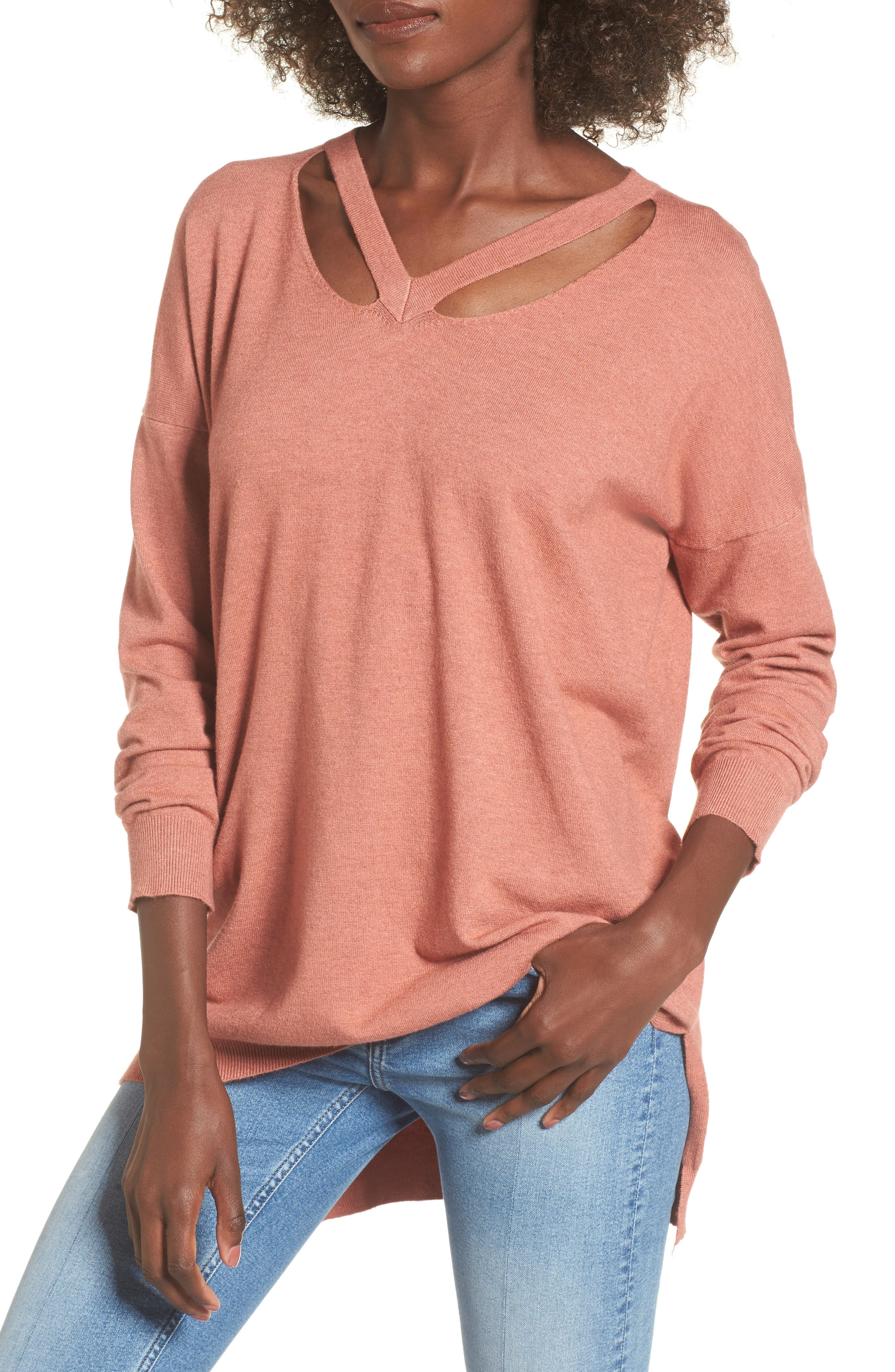 Cutout Detail Sweater,                         Main,                         color, Heather Coral
