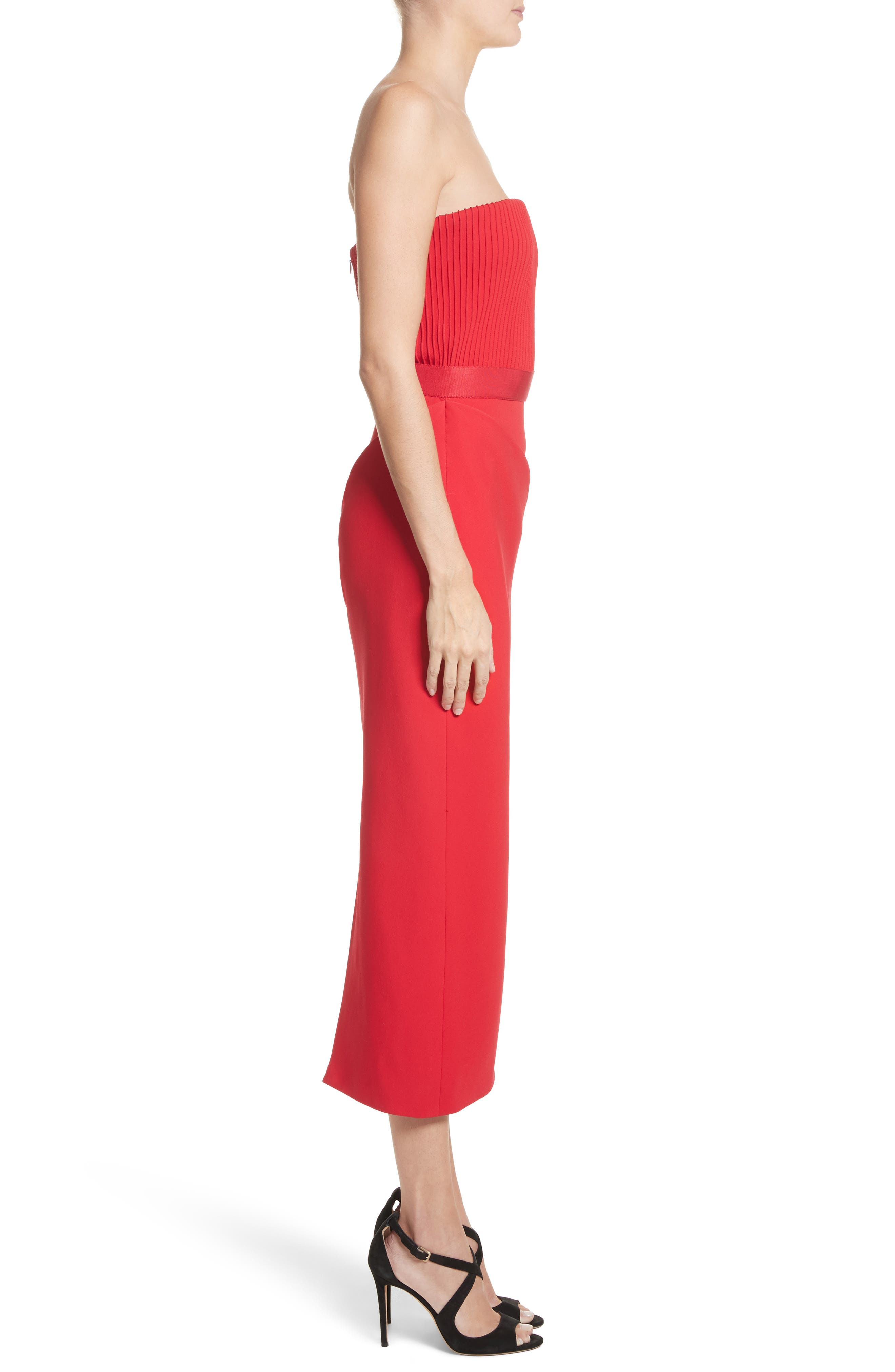 Ribbed Bodice Midi Dress,                             Alternate thumbnail 3, color,                             Red