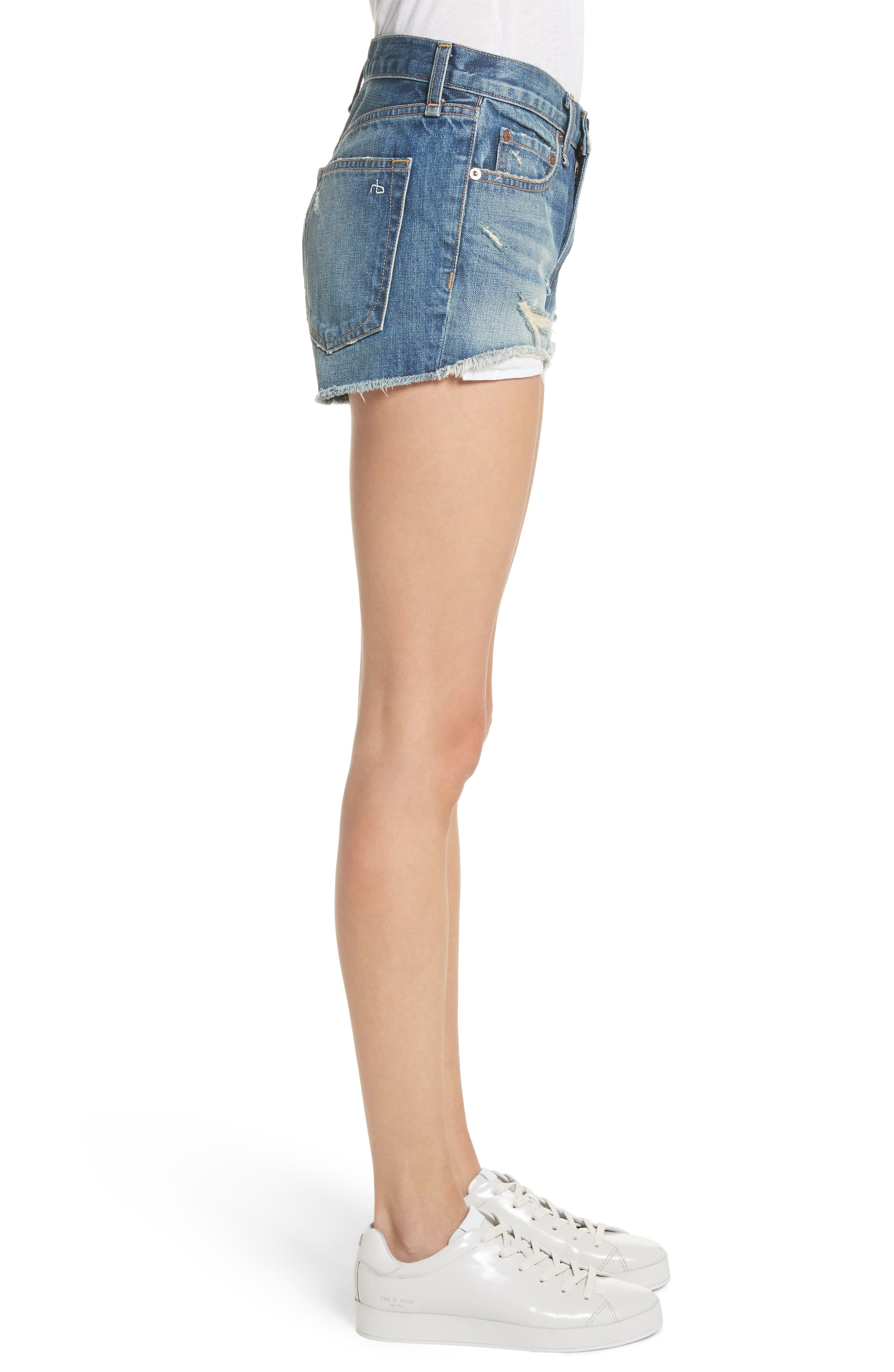 Margaux High Waist Denim Shorts,                             Alternate thumbnail 3, color,                             Rocka Rolla