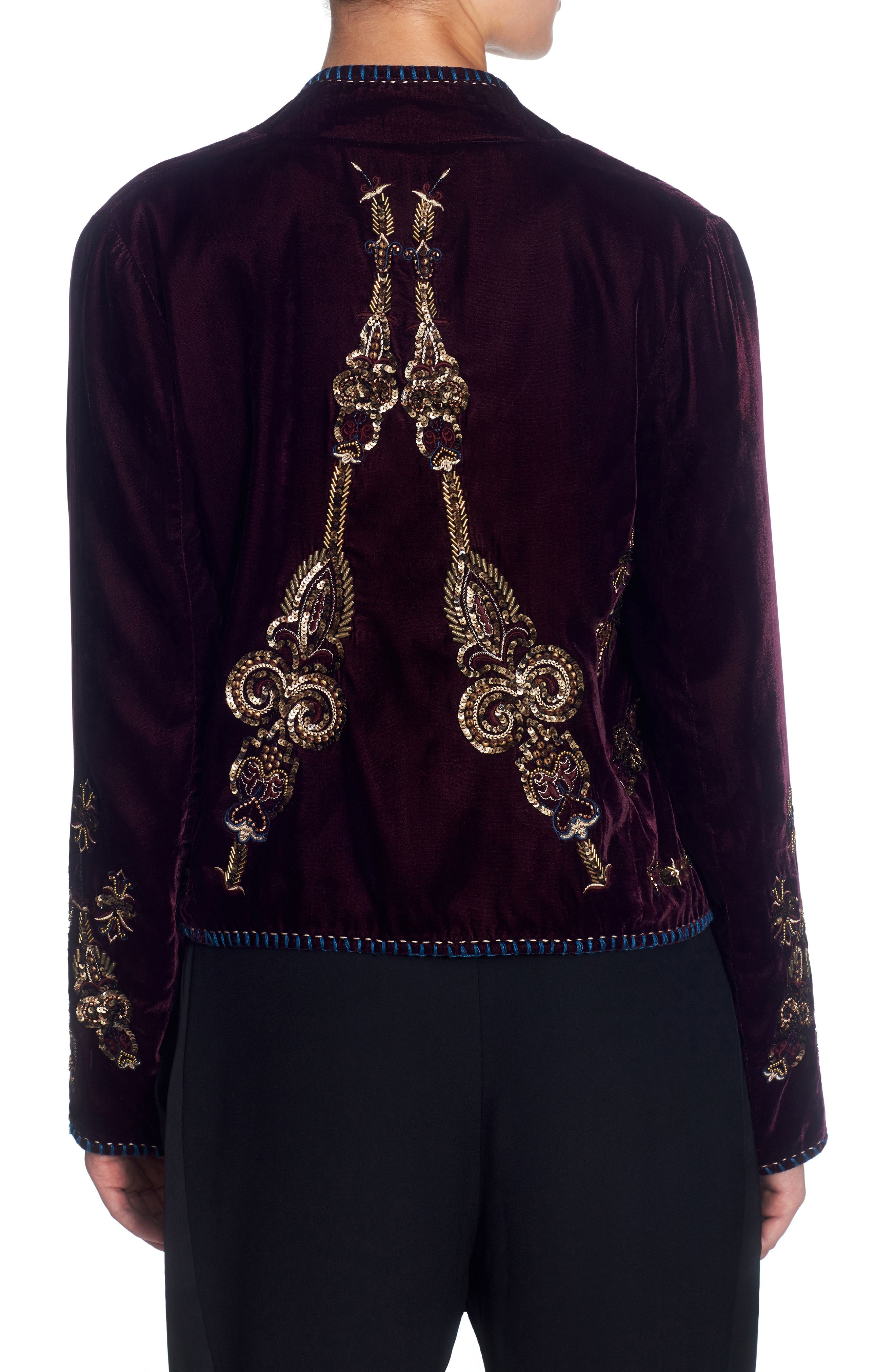 Winstead Embellished Velvet Jacket,                             Alternate thumbnail 2, color,                             Grape Wine