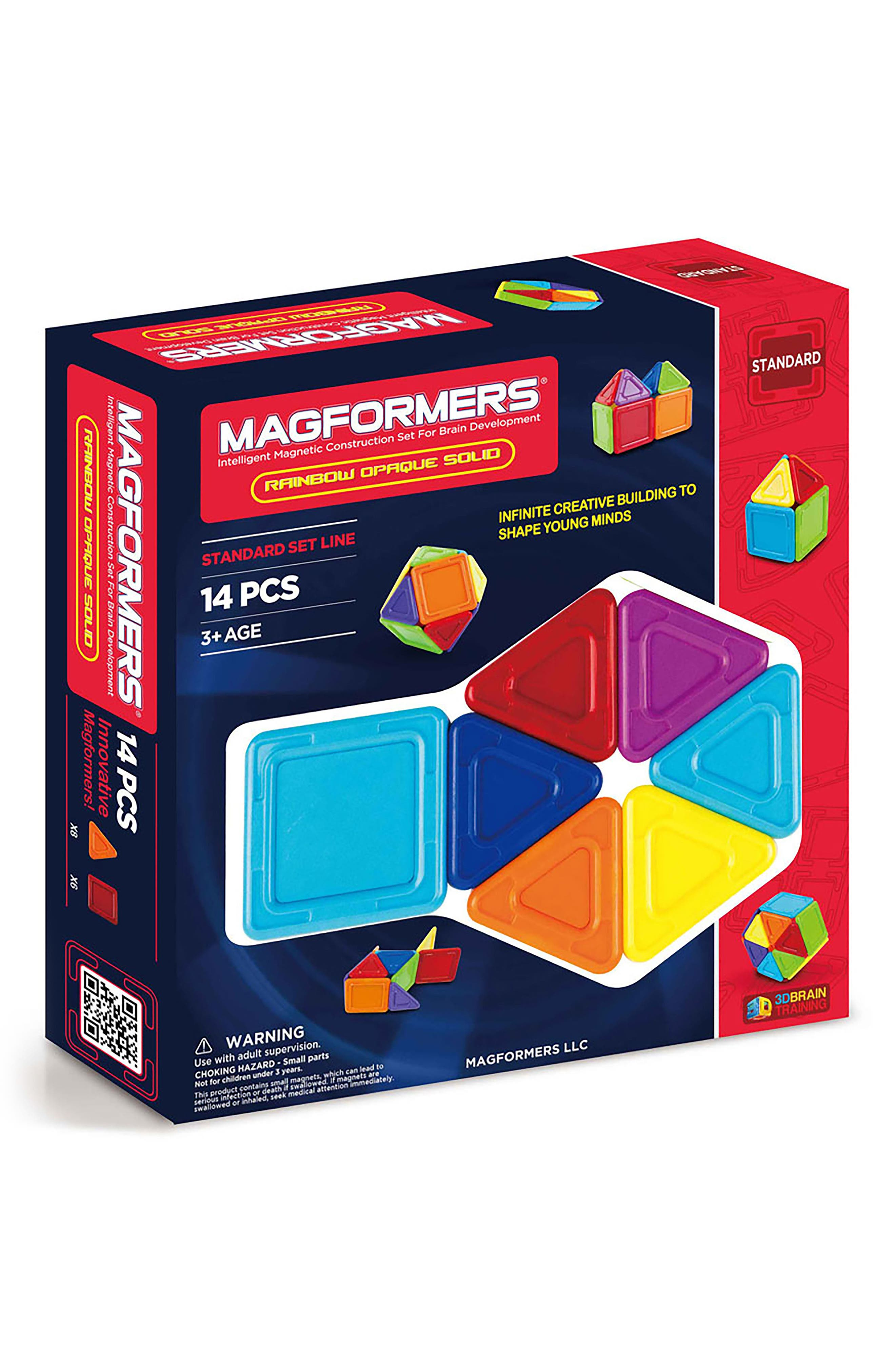Magformers 14-Piece Rainbow Opaque Solid Magnetic 3D Construction Set