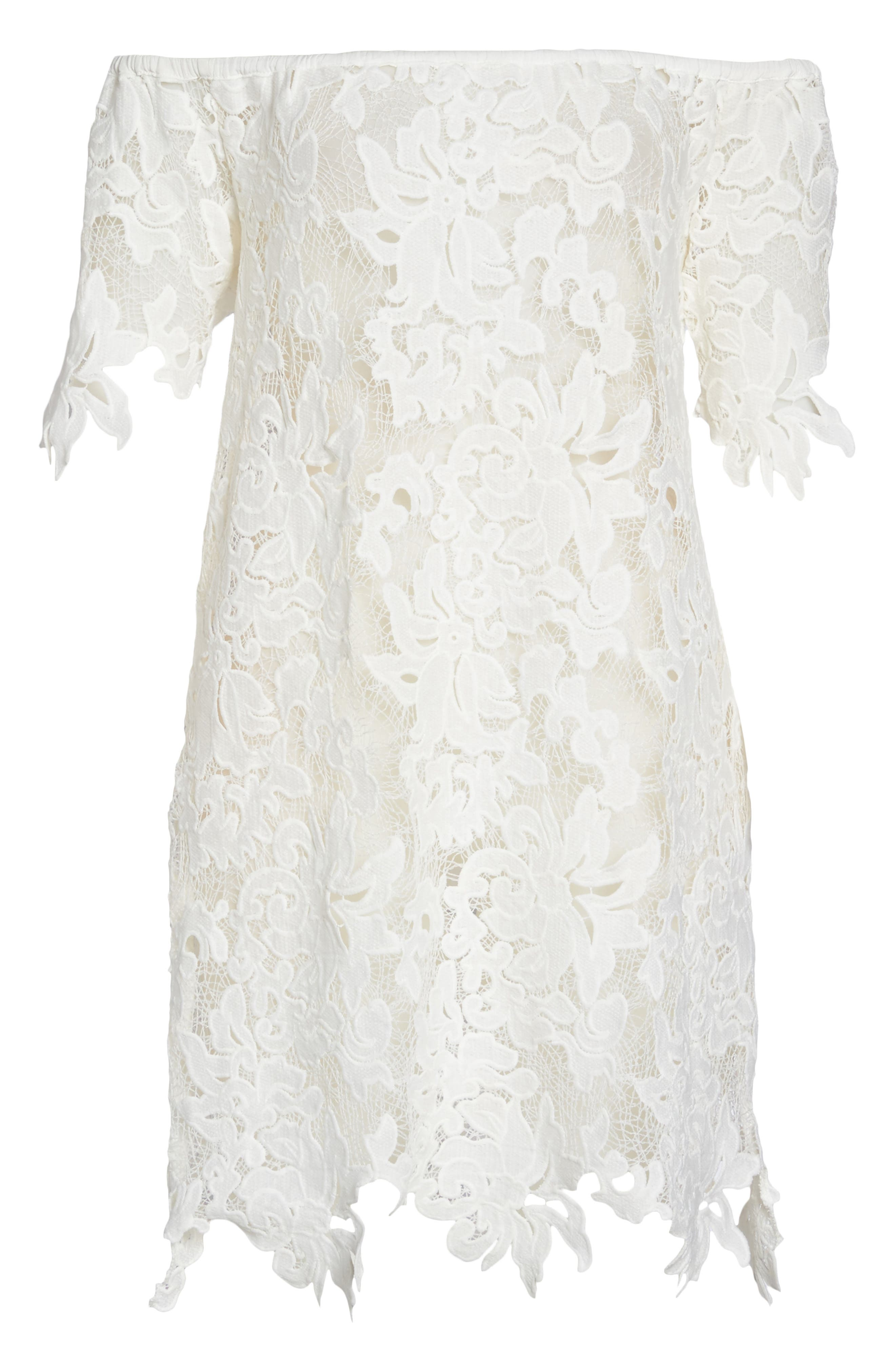 Ode Rosette Lace Cover-Up Dress,                             Alternate thumbnail 6, color,                             White