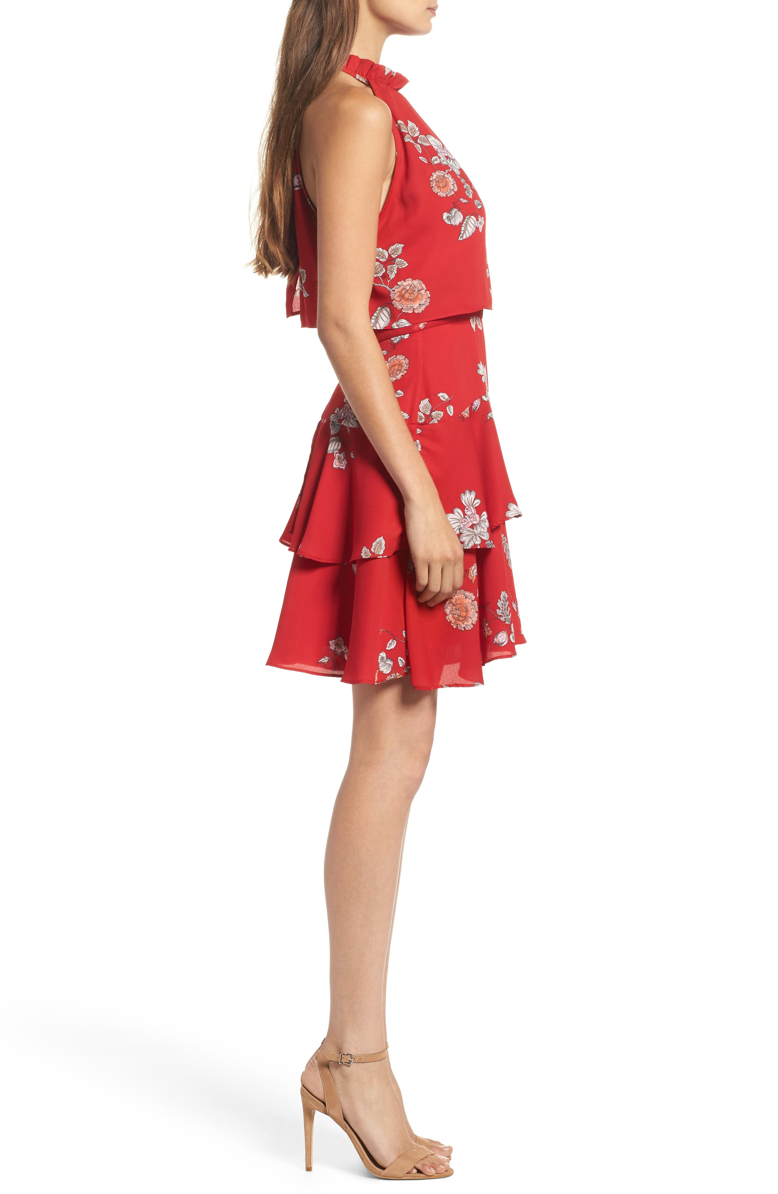 Cadence Ruffle Halter Dress,                             Alternate thumbnail 3, color,                             Red