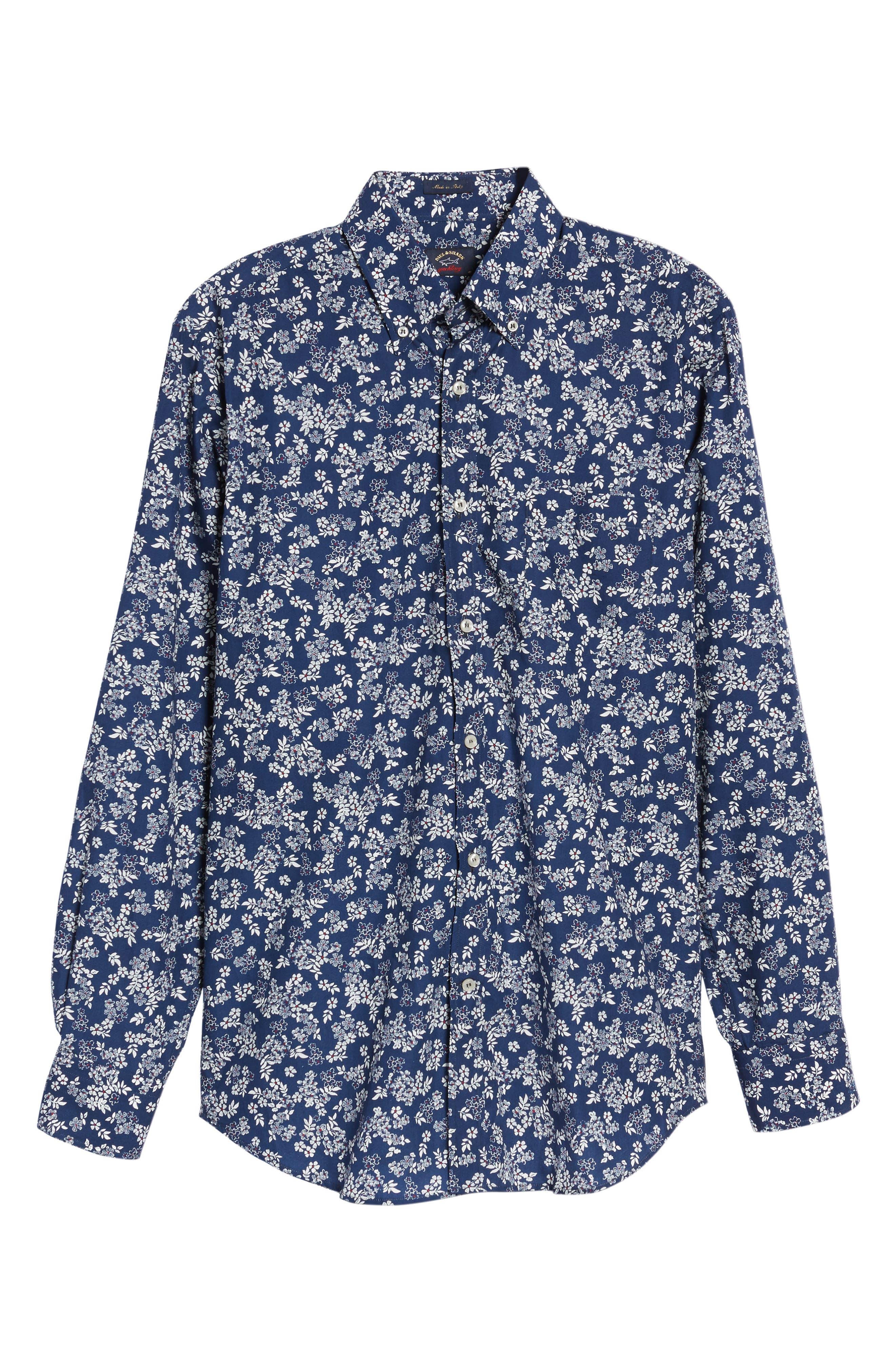 Alternate Image 6  - Paul & Shark Regular Fit Flower Print Sport Shirt