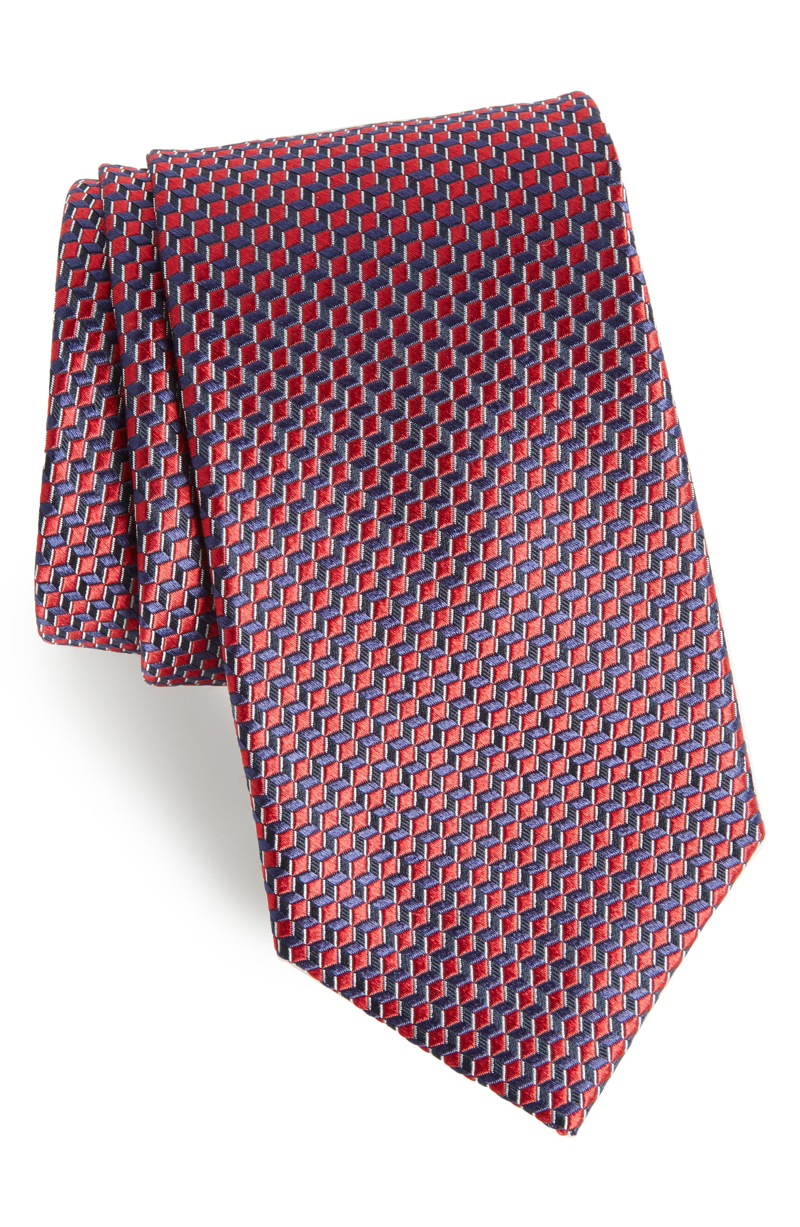 Doria Geometric Silk Tie,                         Main,                         color, Red
