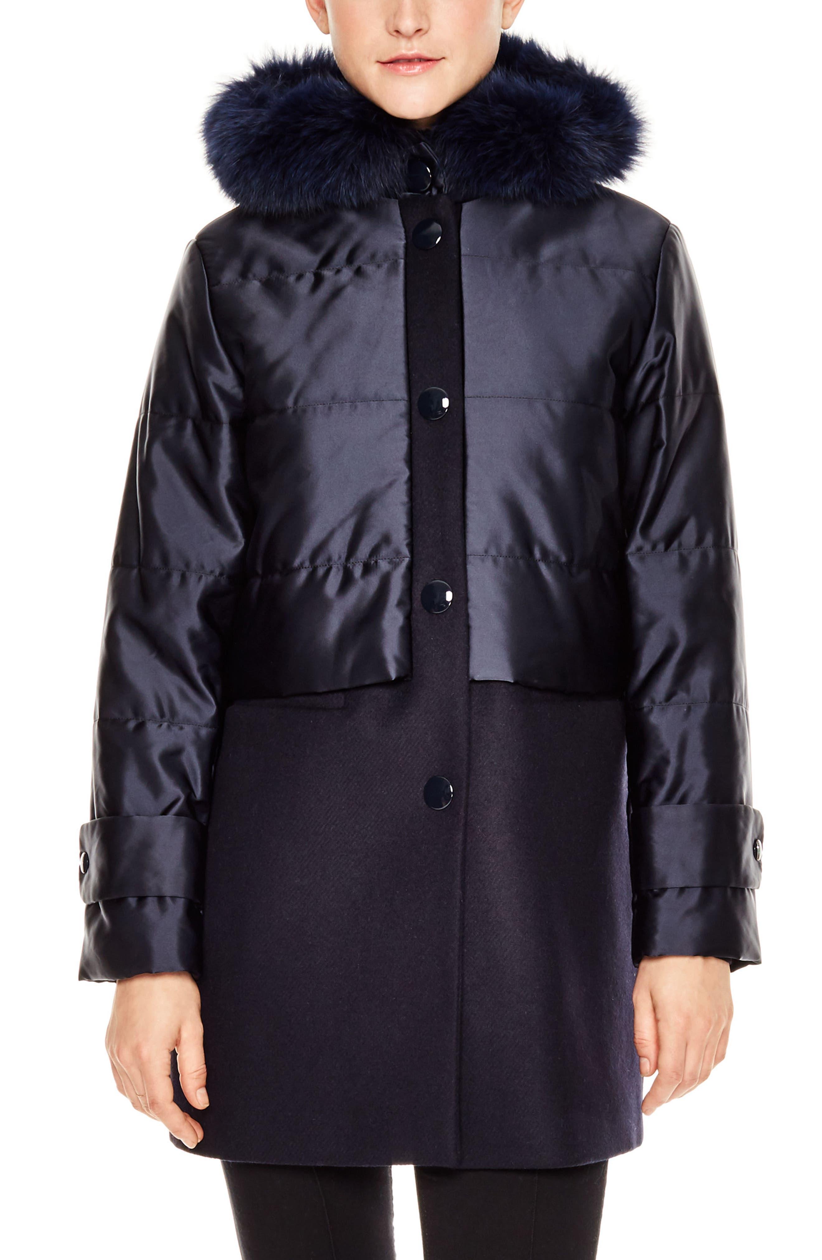Gordon Genuine Fox Fur Trim Mixed Media Coat,                         Main,                         color, Navy