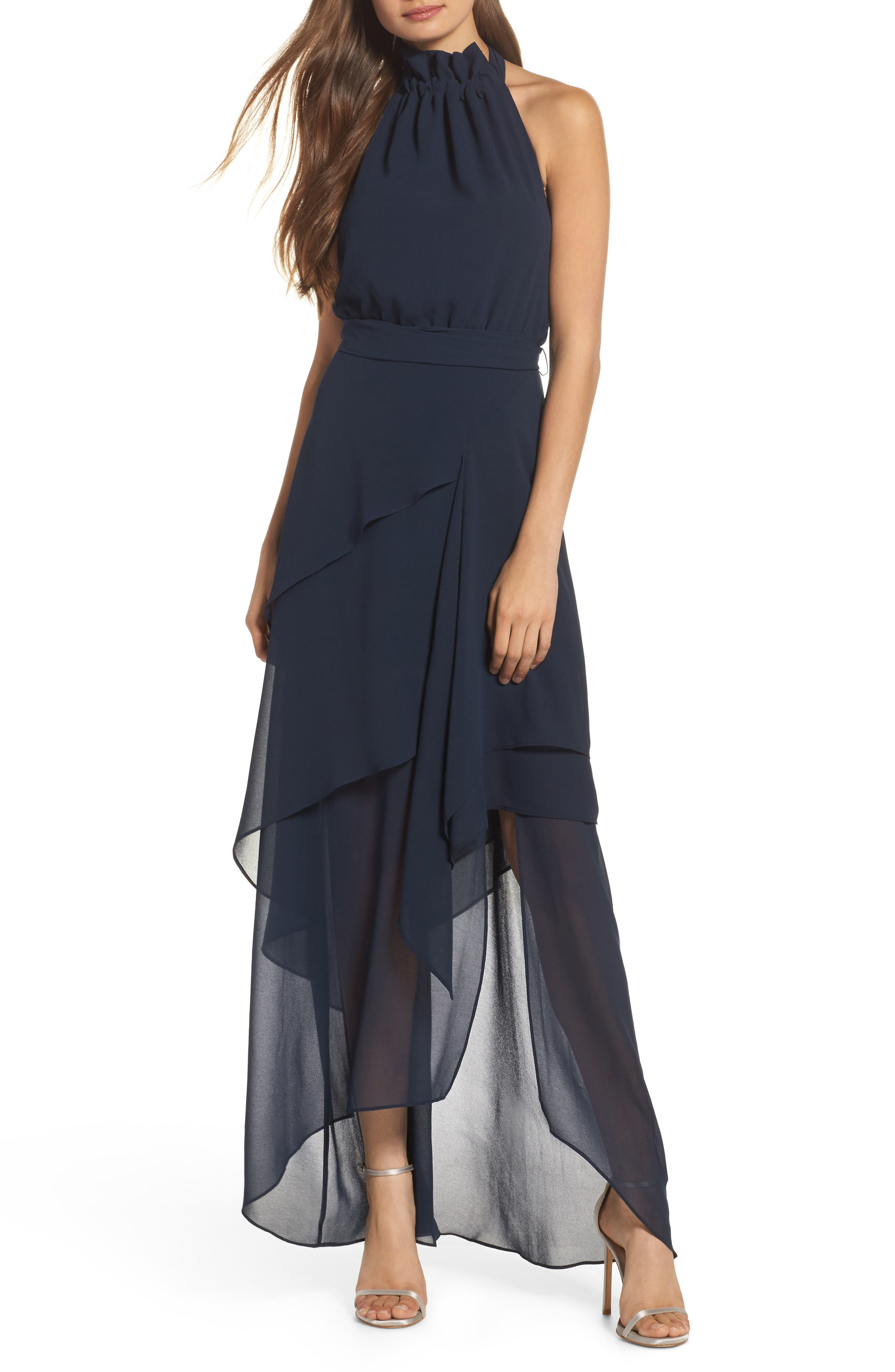 Allude Tiered Halter Maxi Dress,                             Main thumbnail 1, color,                             Navy