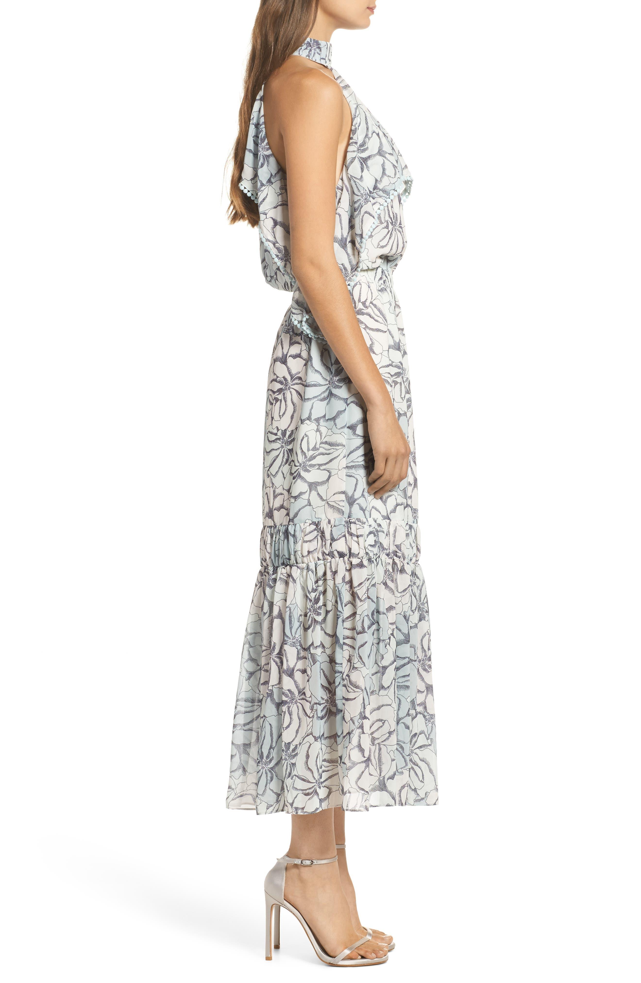 Alternate Image 3  - Foxiedox Amina Pompom Halter Tea Length Dress