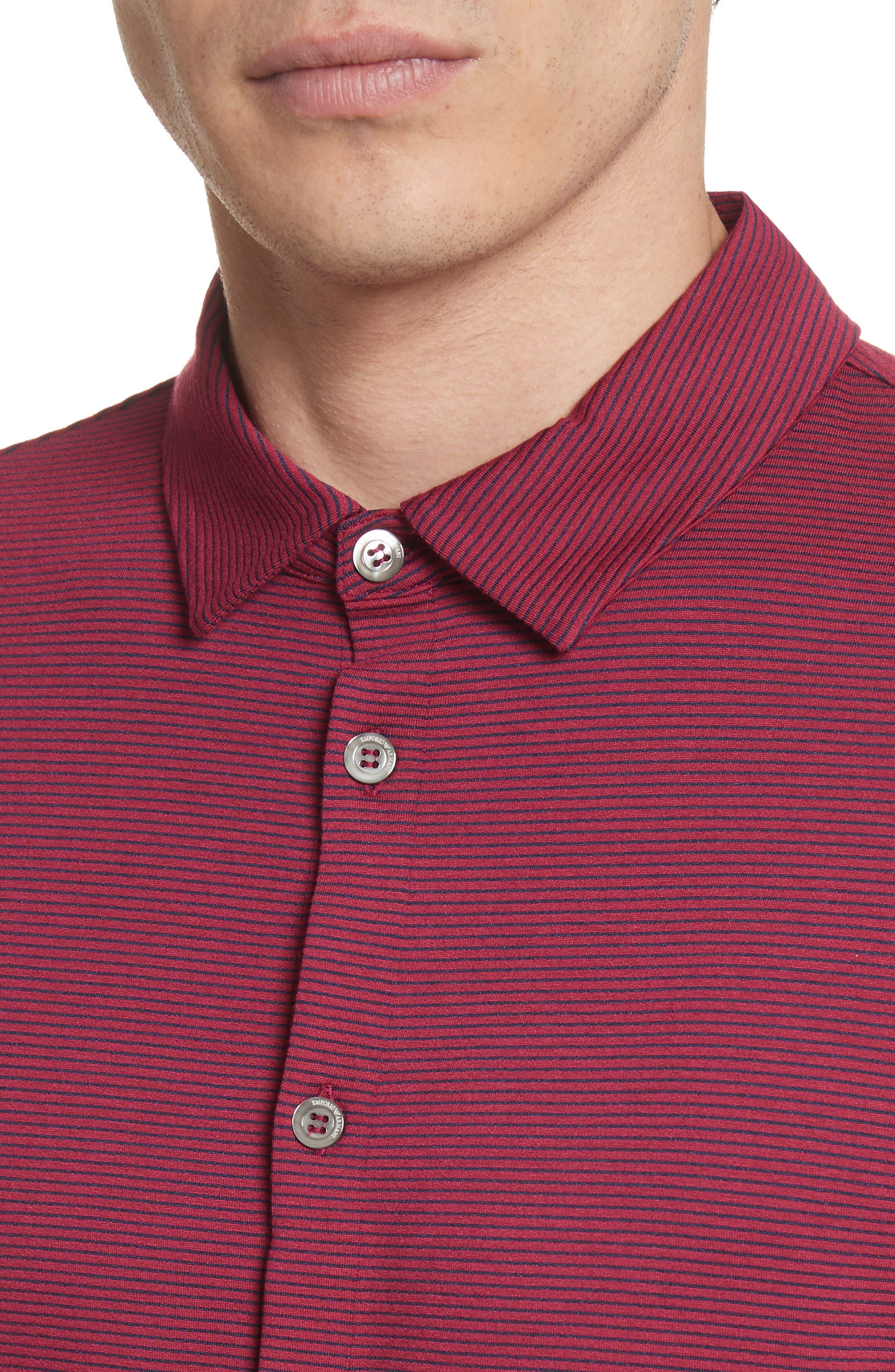 Slim Fit Knit Shirt,                             Alternate thumbnail 4, color,                             Borgogna