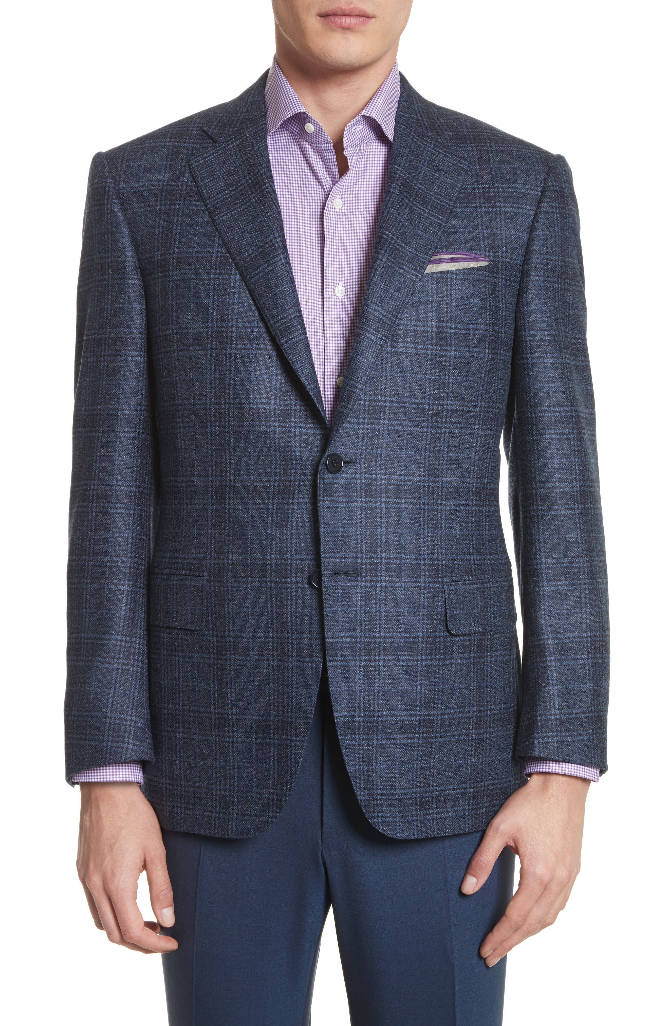 Canali Classic Fit Plaid Wool & Cashmere Sport Coat