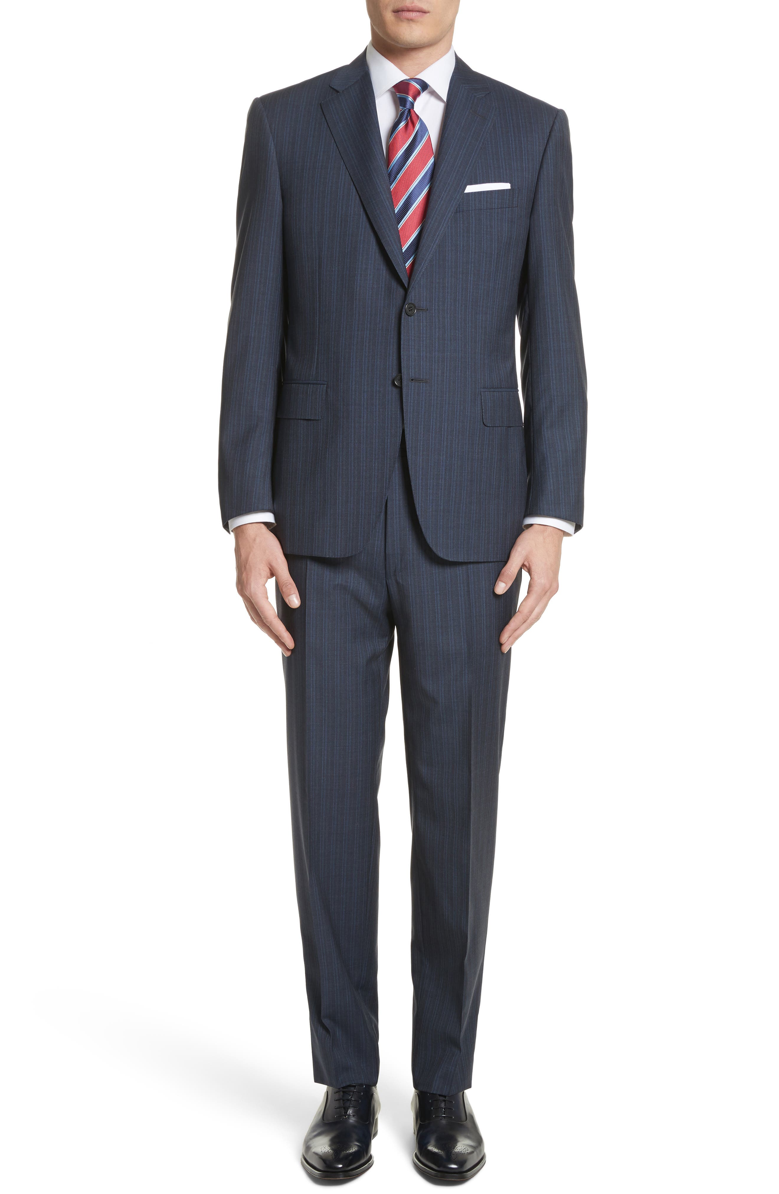 Classic Fit Stripe Wool Suit,                         Main,                         color, Navy
