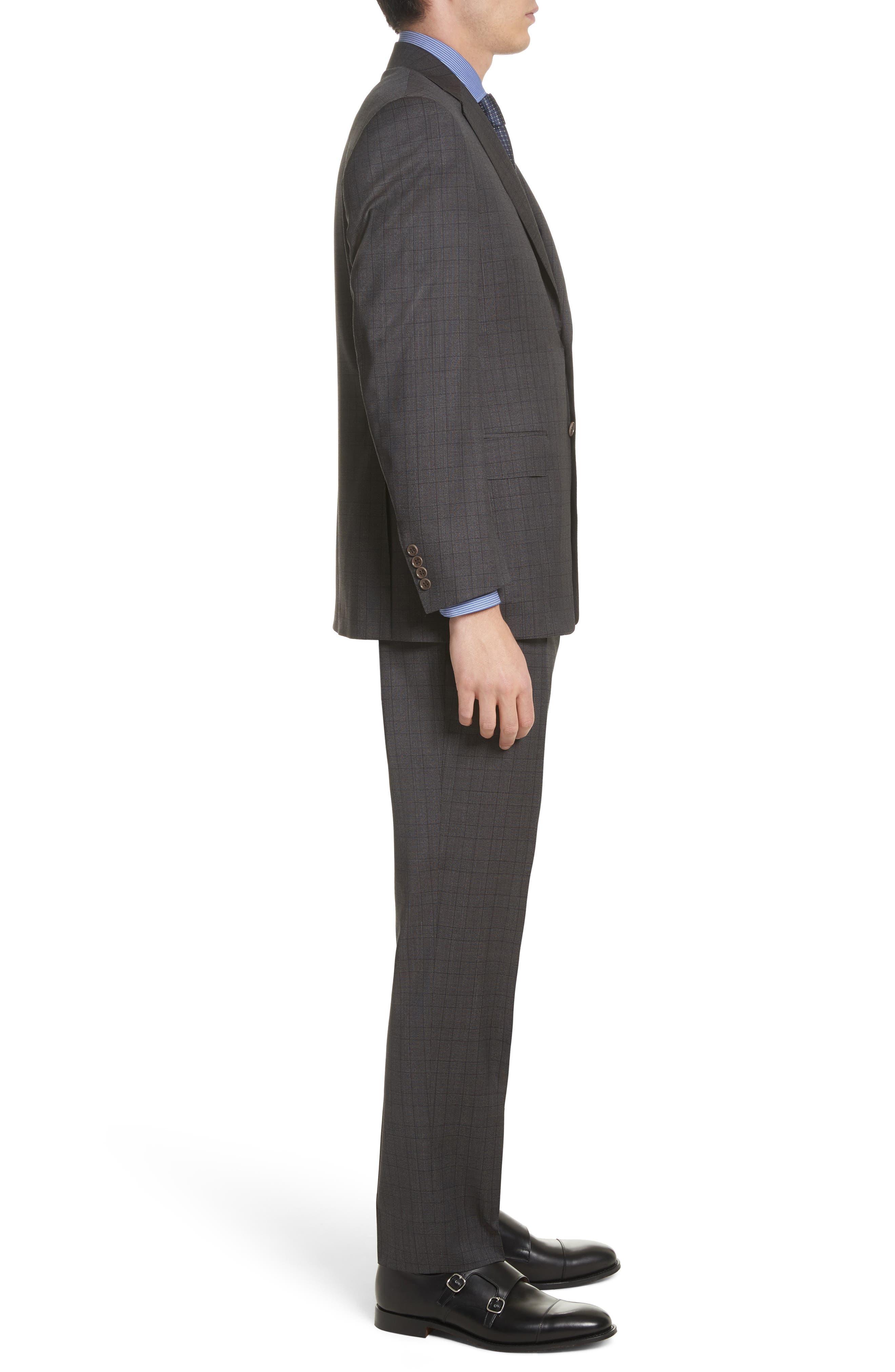 Classic Fit Plaid Wool Suit,                             Alternate thumbnail 3, color,                             Brown