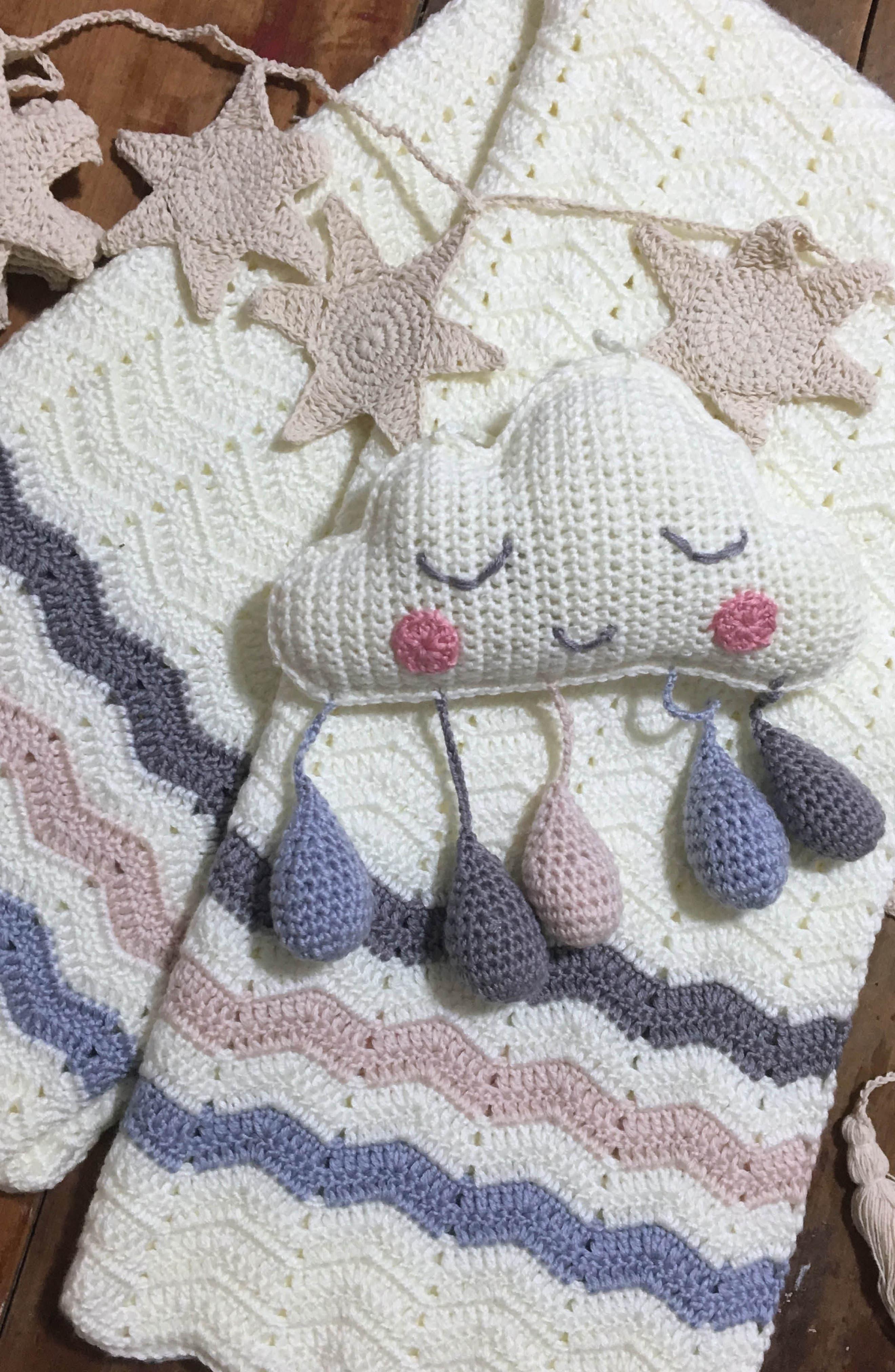 Ripple Crocheted Blanket,                             Alternate thumbnail 11, color,                             Blue