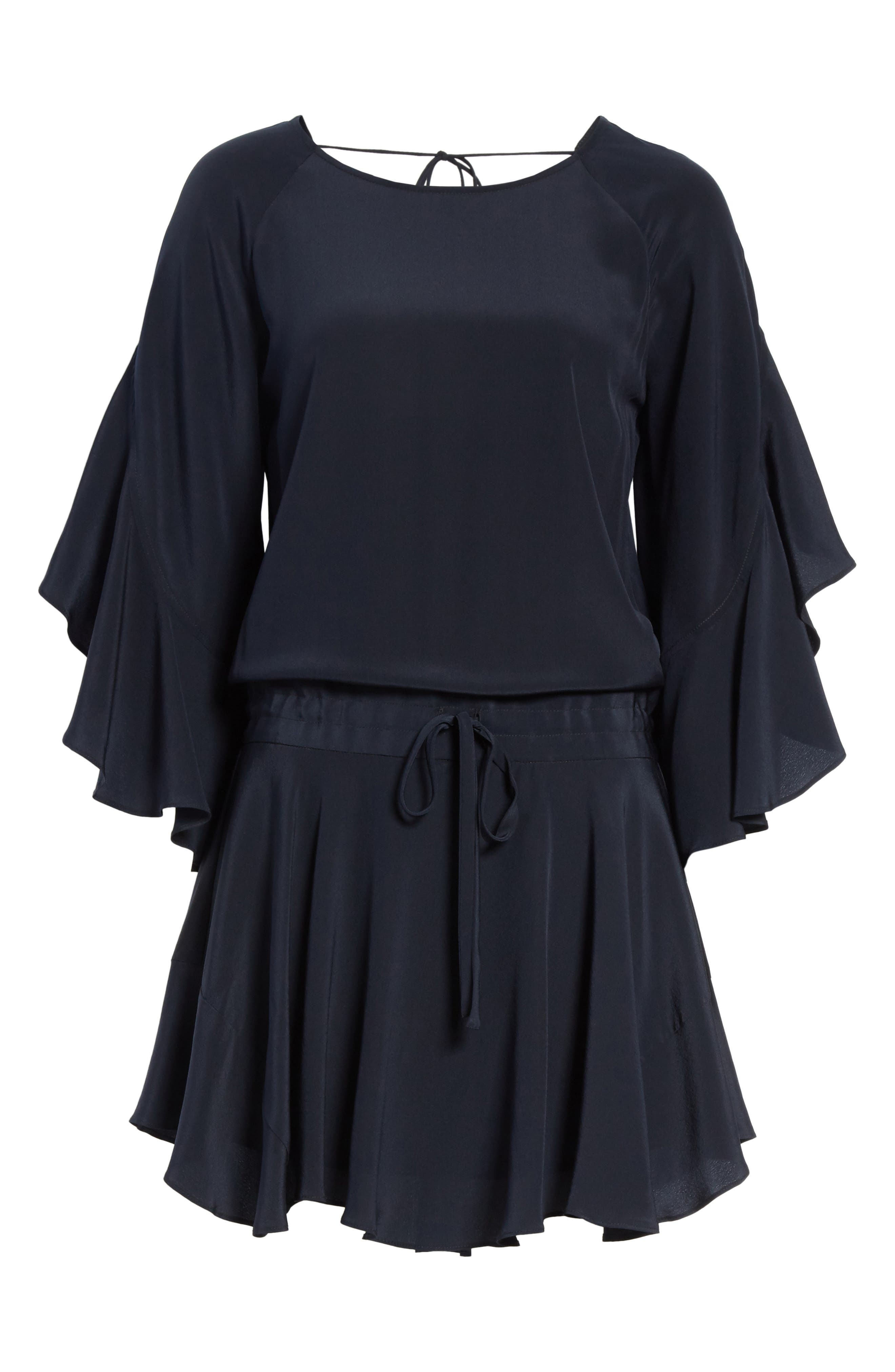 Cannon Flutter Sleeve Silk Dress,                             Alternate thumbnail 6, color,                             Midnight
