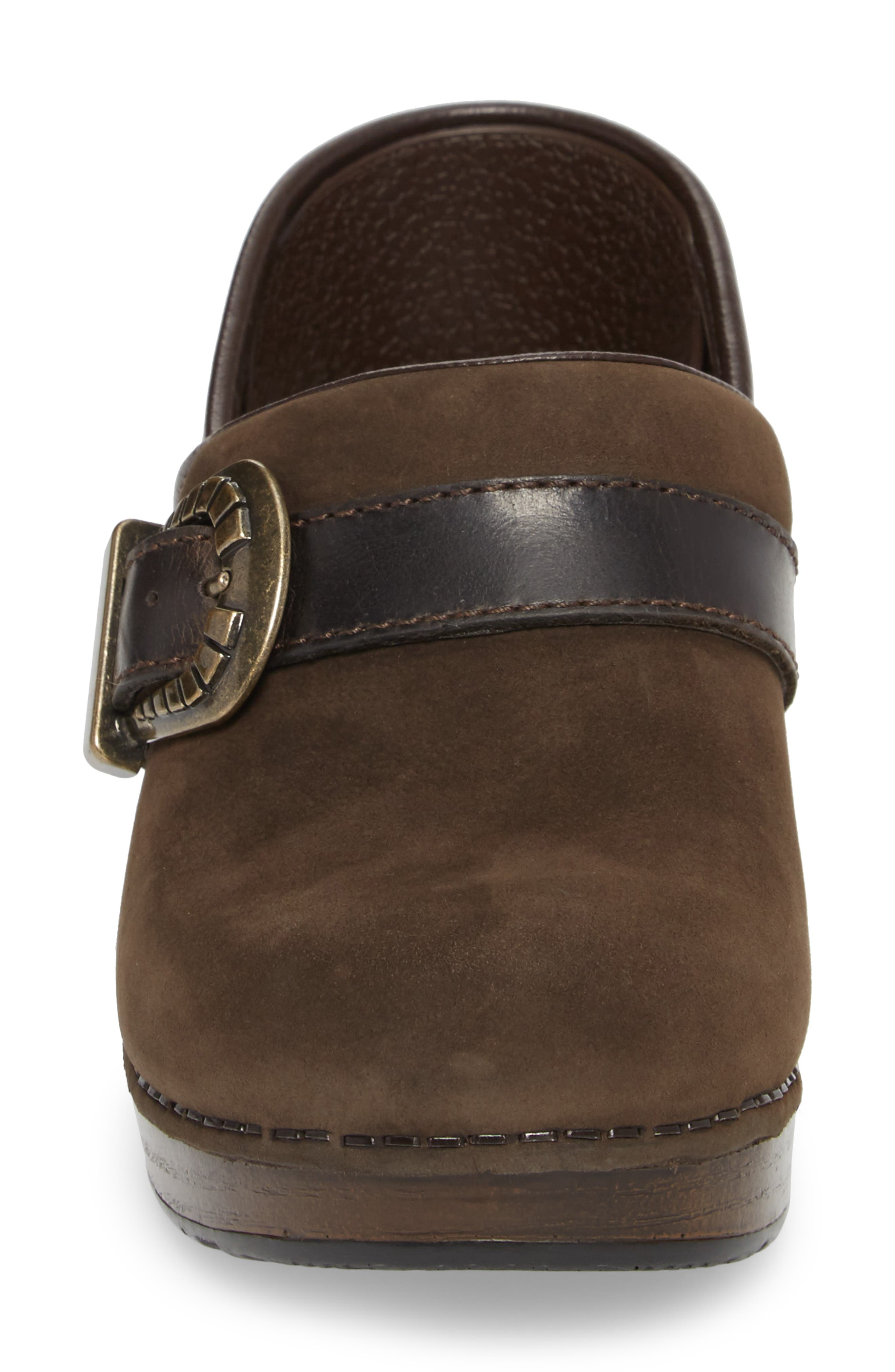 Pammy Clog,                             Alternate thumbnail 4, color,                             Brown Milled Nubuck Leather