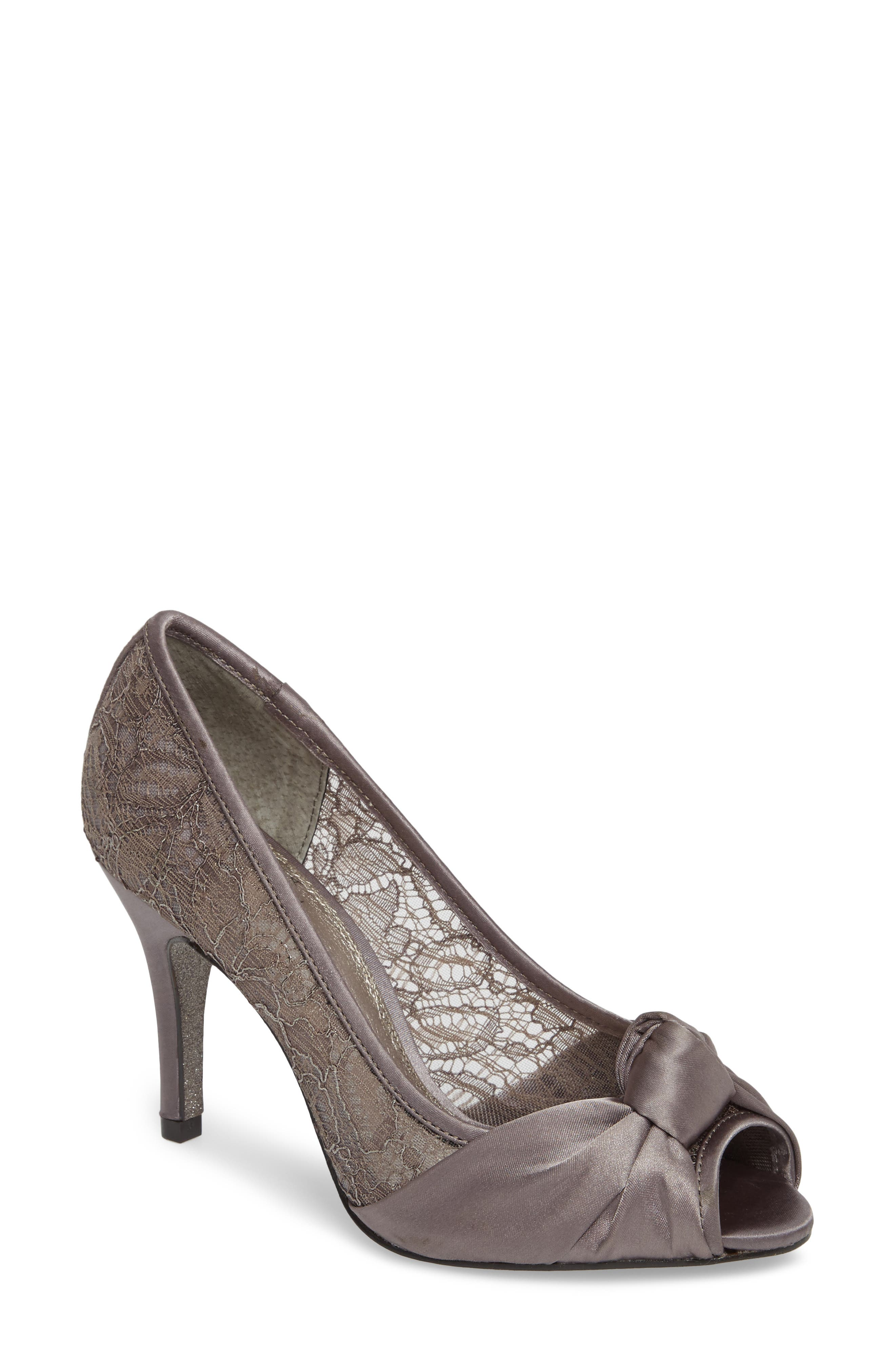 Francesca Knotted Peep Toe Pump,                             Main thumbnail 1, color,                             Steel Satin
