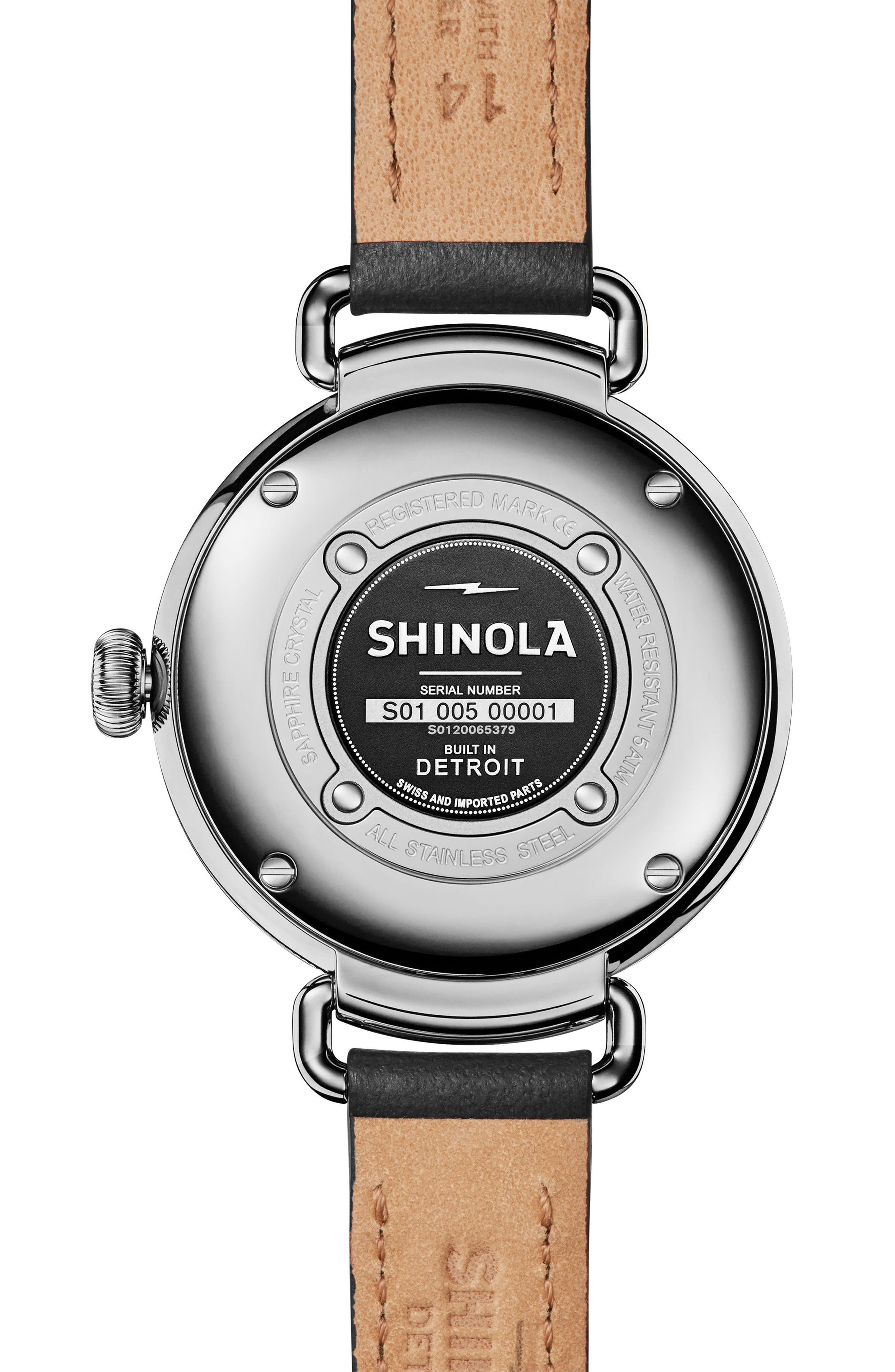 Bolt Leather Strap Watch, 38mm,                             Alternate thumbnail 3, color,                             Black/ Silver