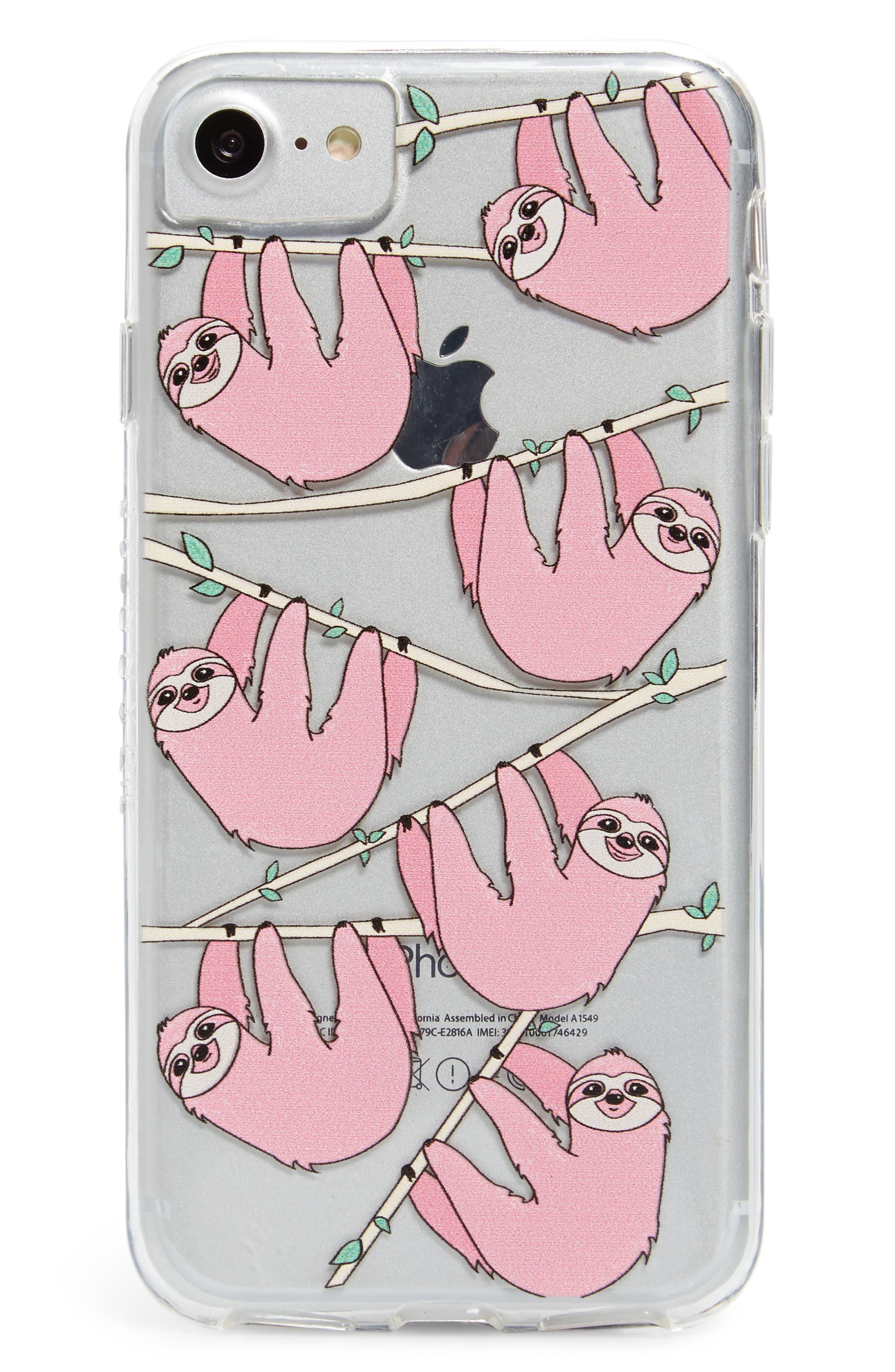Skinny Dip Sloth iPhone 6/6s/7/8 & 6/6s/7/8 Plus Case,                             Main thumbnail 1, color,                             Pink