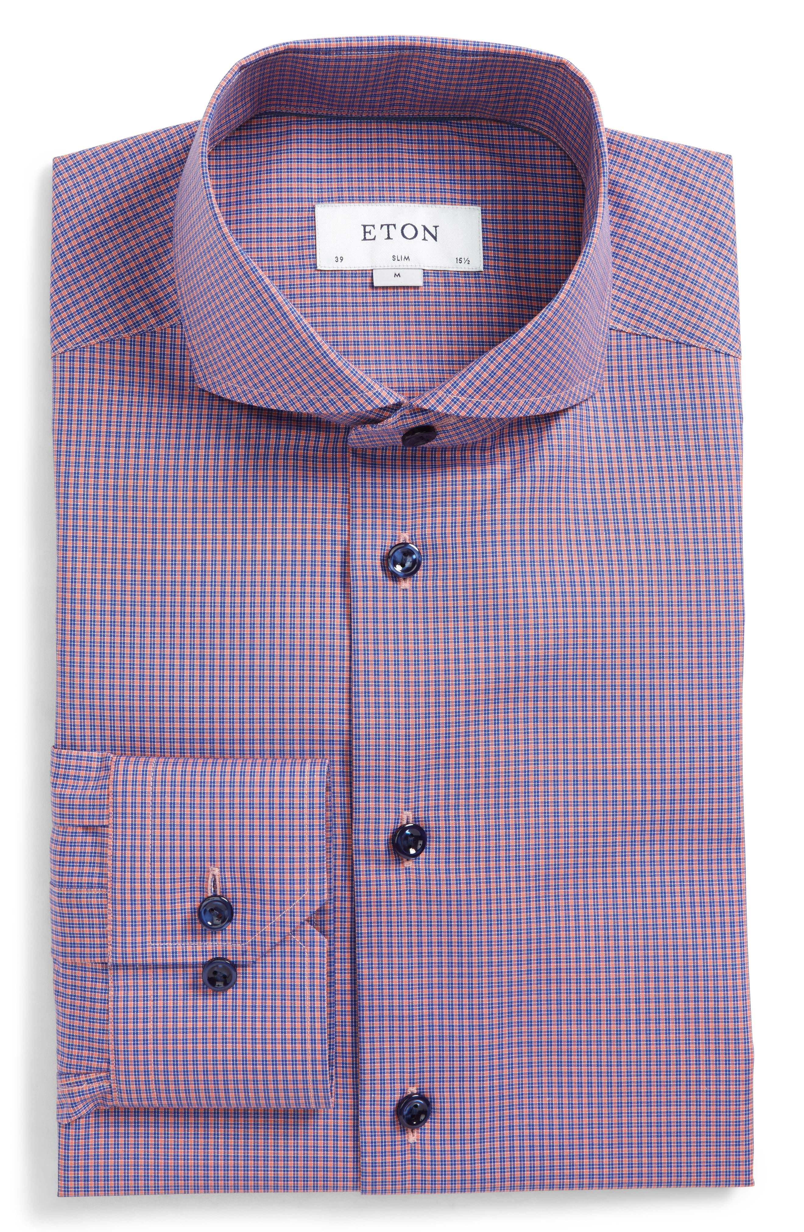 Slim Fit Check Dress Shirt,                         Main,                         color, Red