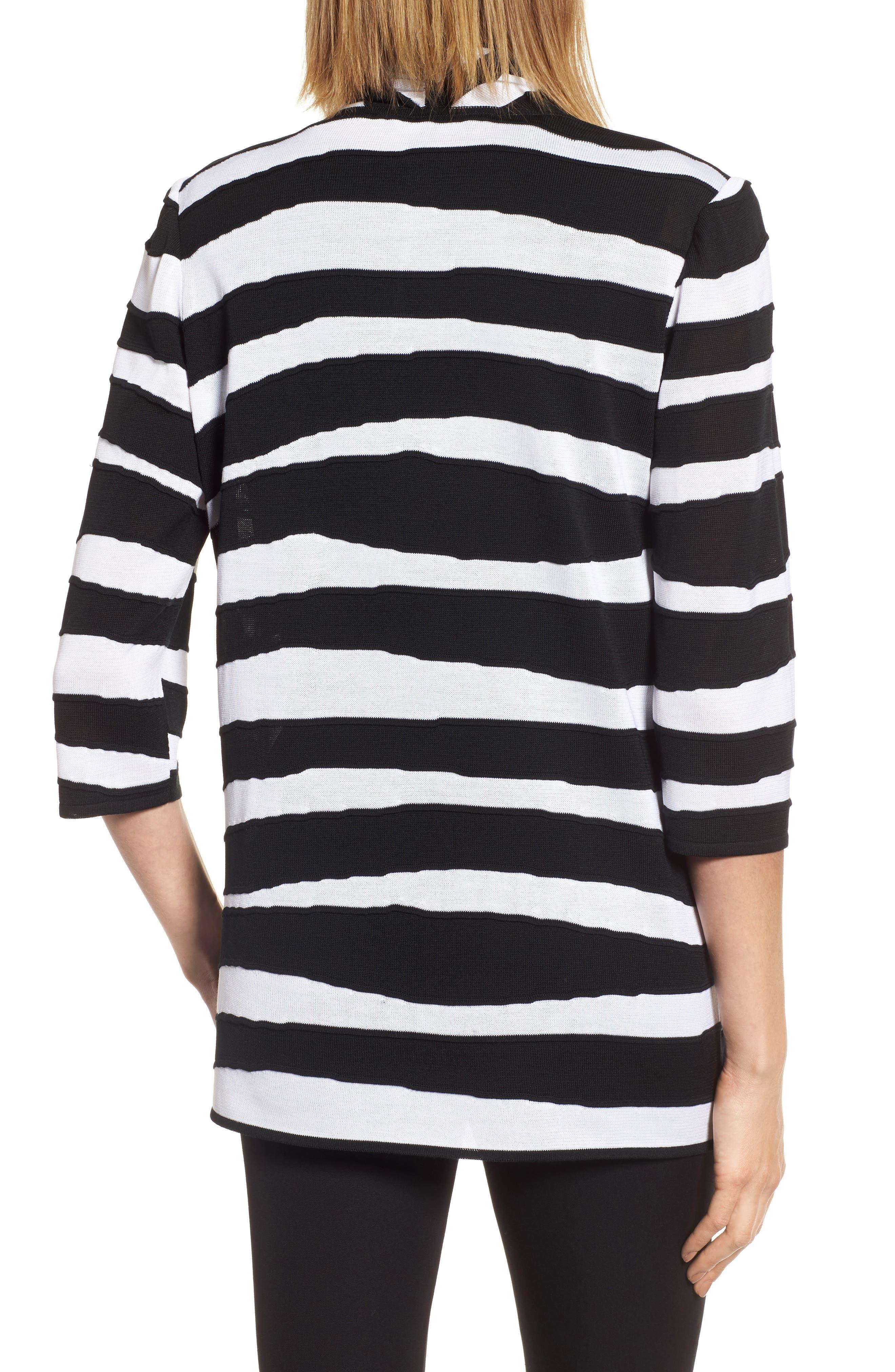 Animal Jacquard Knit Jacket,                             Alternate thumbnail 2, color,                             Black/ White