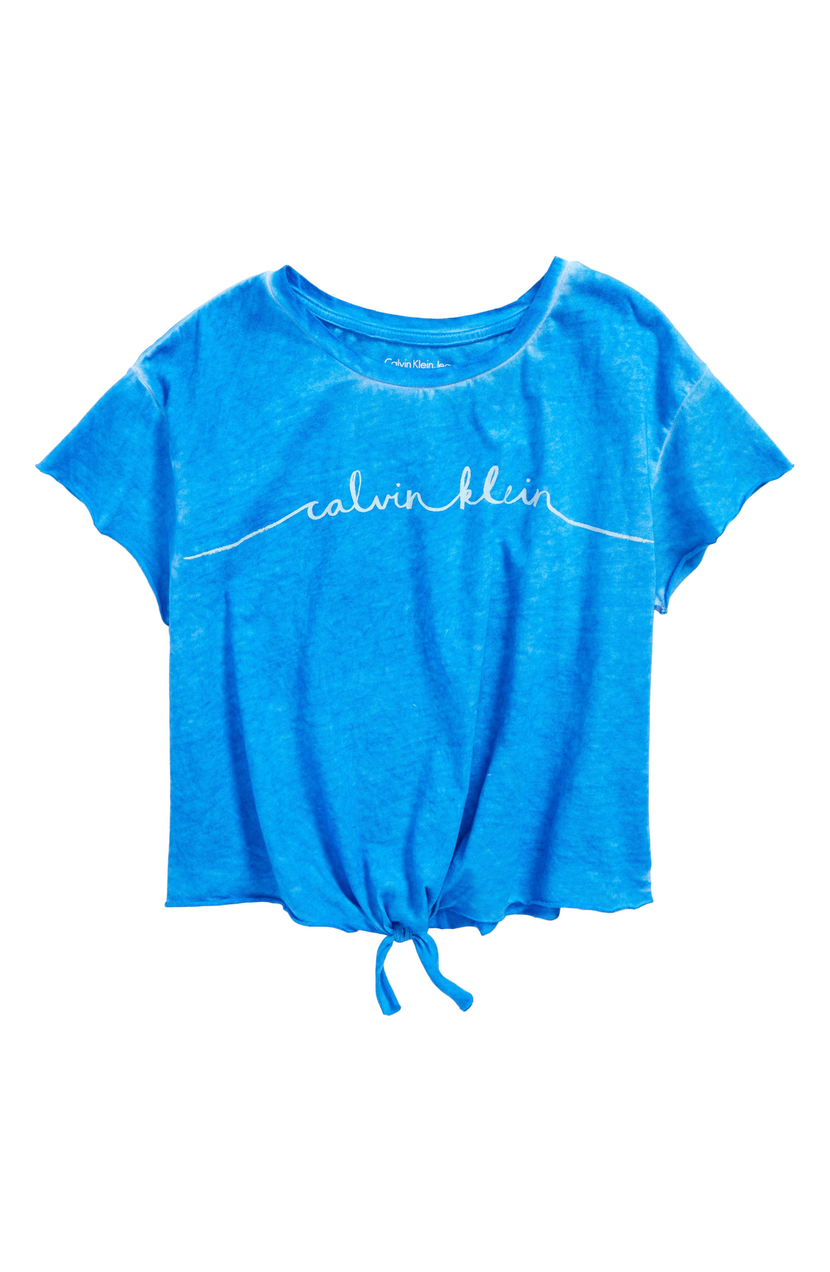 Calvin Klein Logo Raw Edge Tie Front Tee (Big Girls)