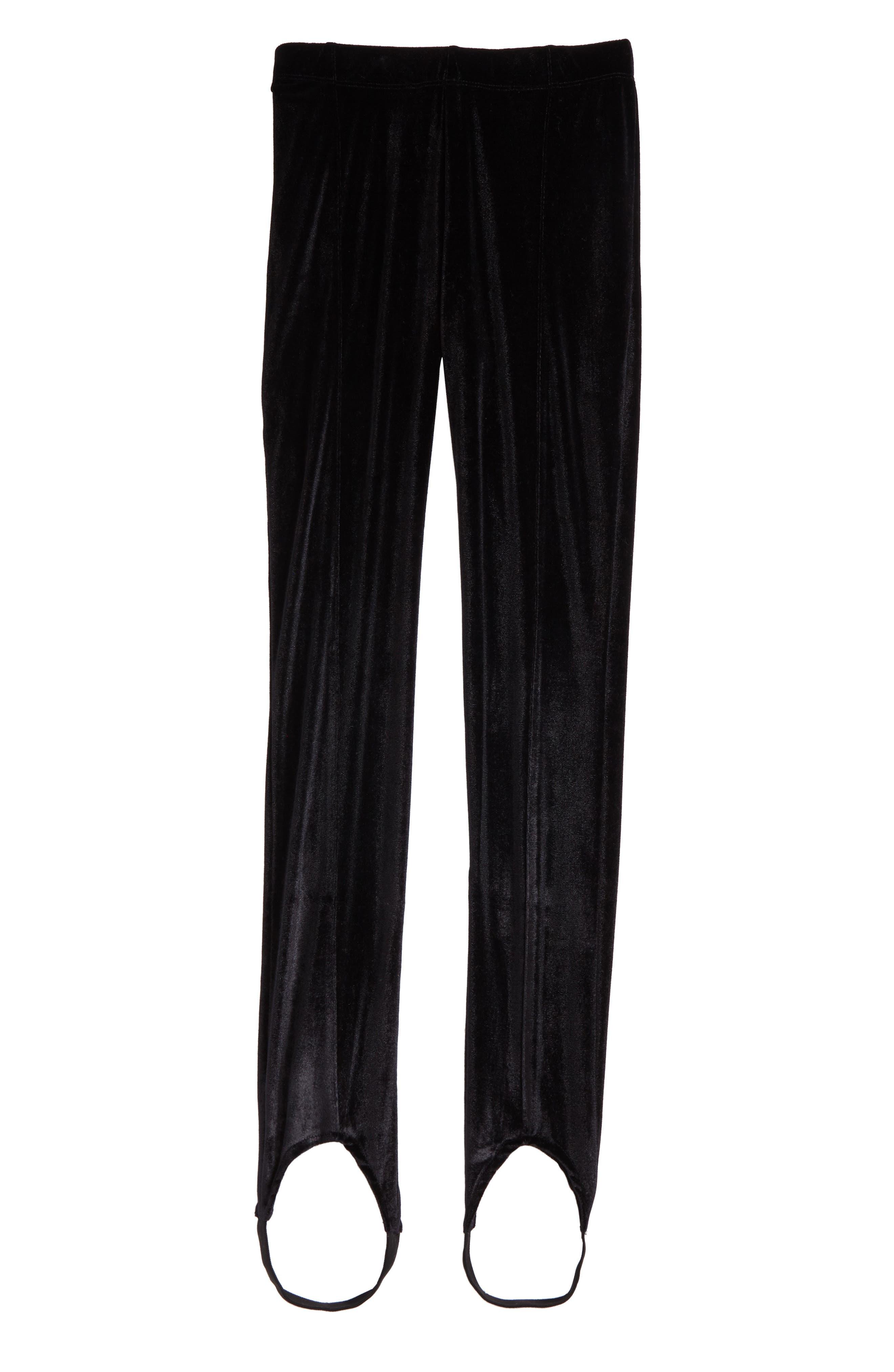Velvet Stirrup Pants,                         Main,                         color, Black