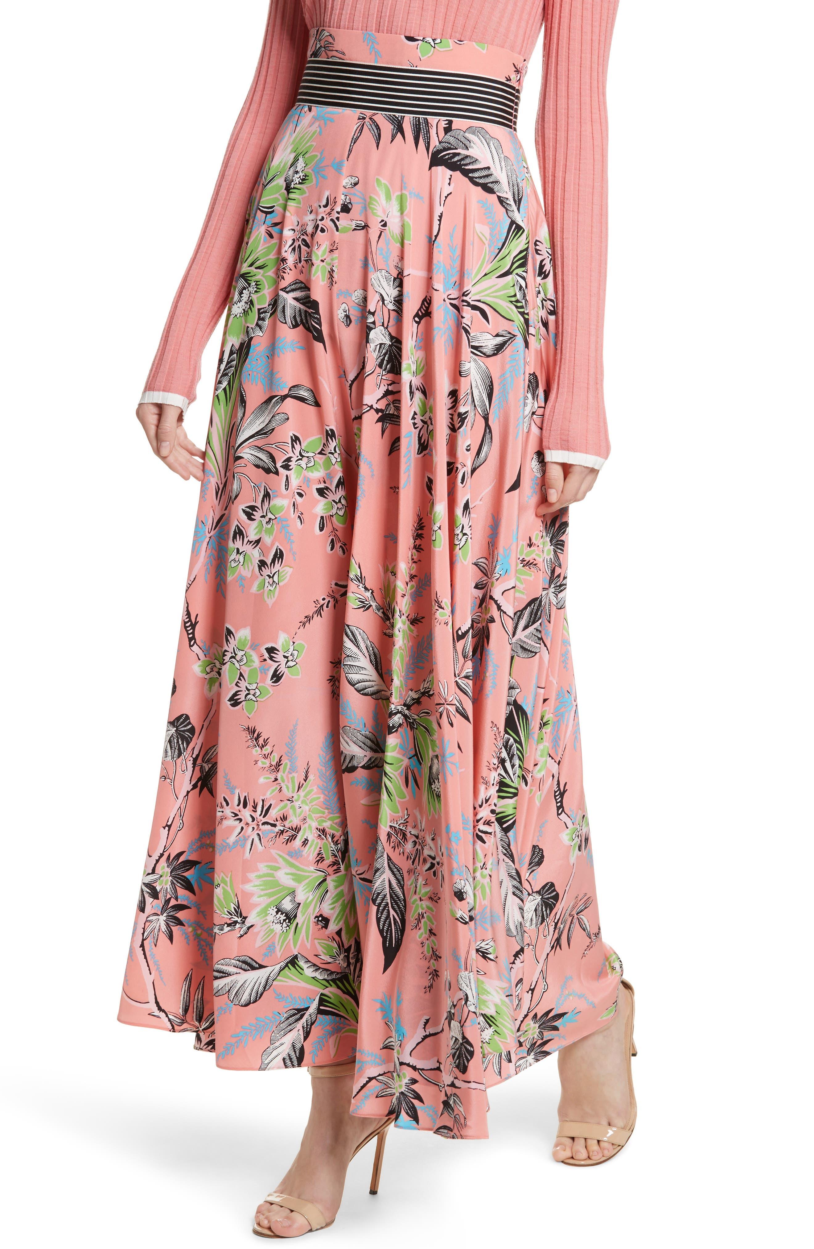 Diane von Furstenberg Draped Silk Maxi Skirt,                             Alternate thumbnail 4, color,                             Avalon Hyacinth