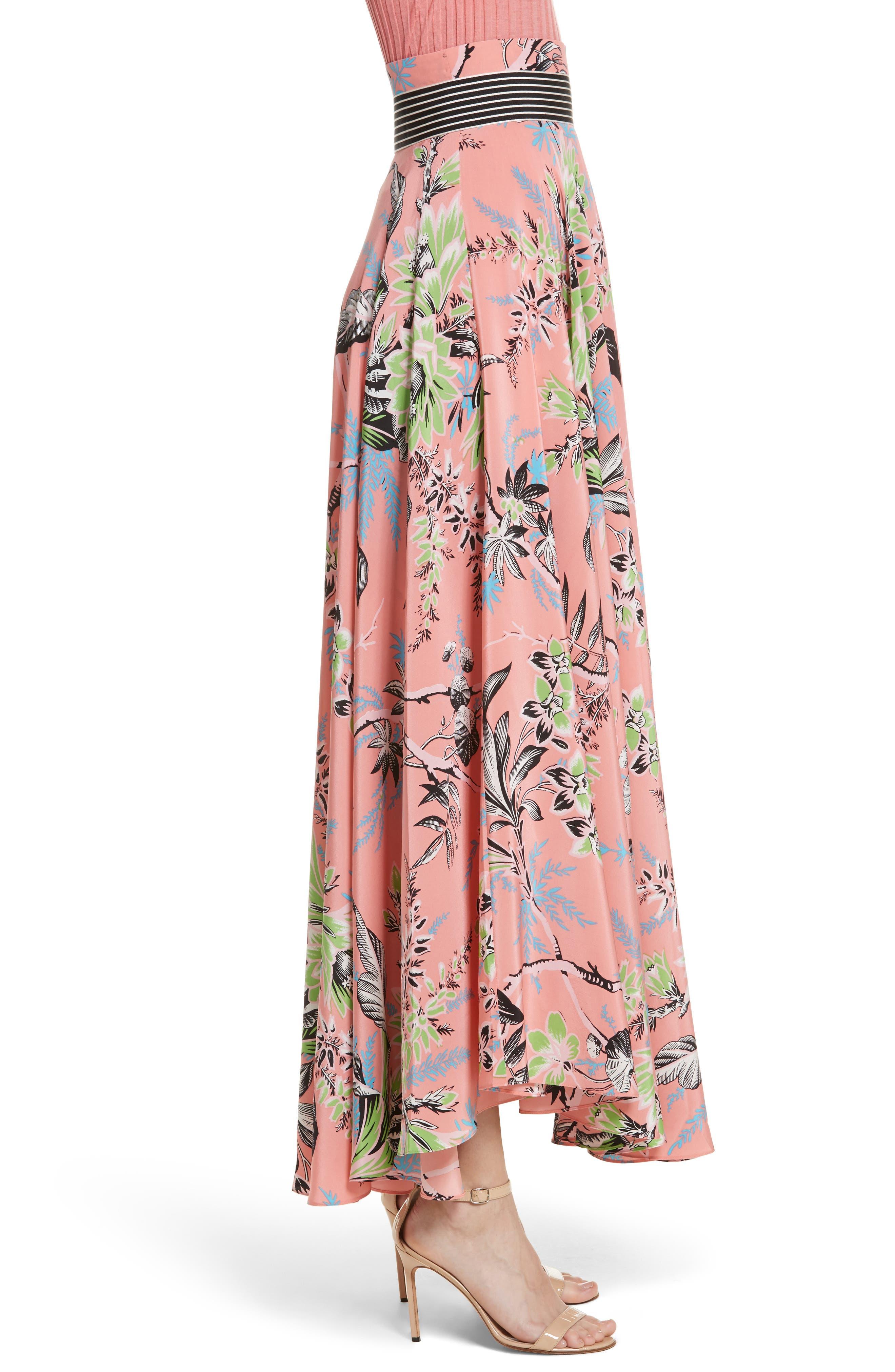 Diane von Furstenberg Draped Silk Maxi Skirt,                             Alternate thumbnail 3, color,                             Avalon Hyacinth