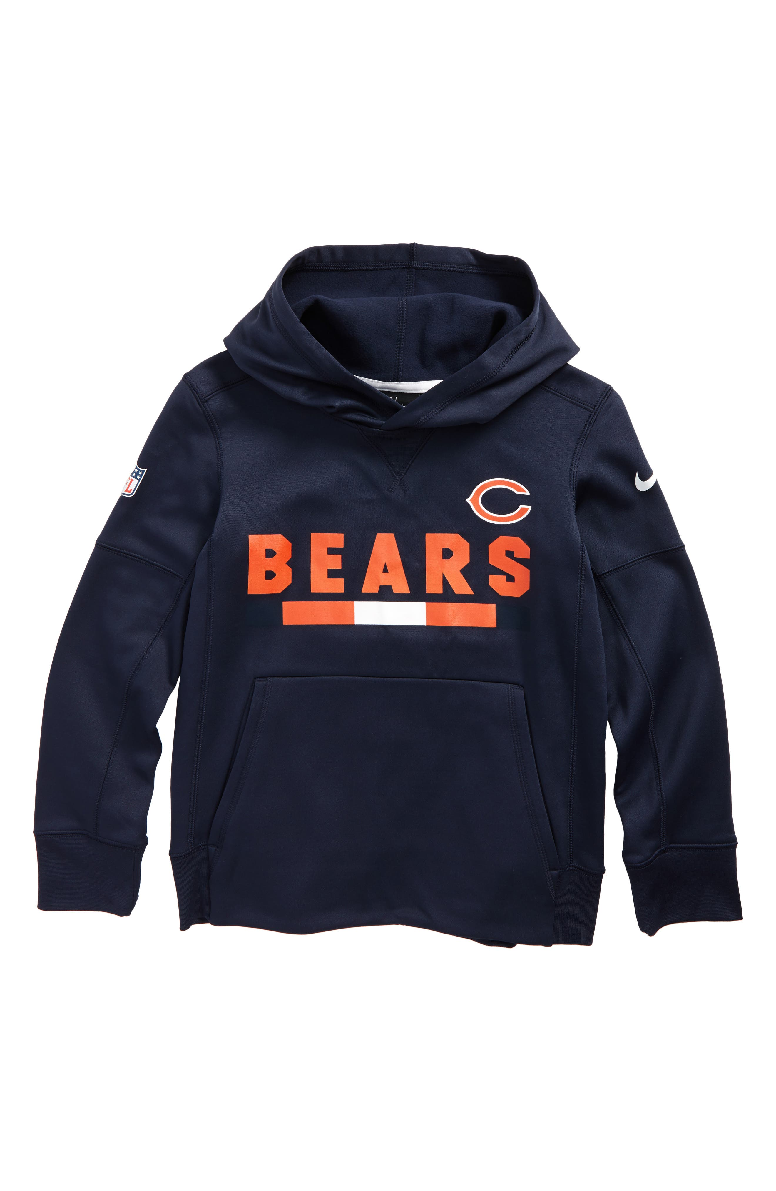 Nike Therma Chicago Bears Hoodie,                             Main thumbnail 1, color,                             Marine