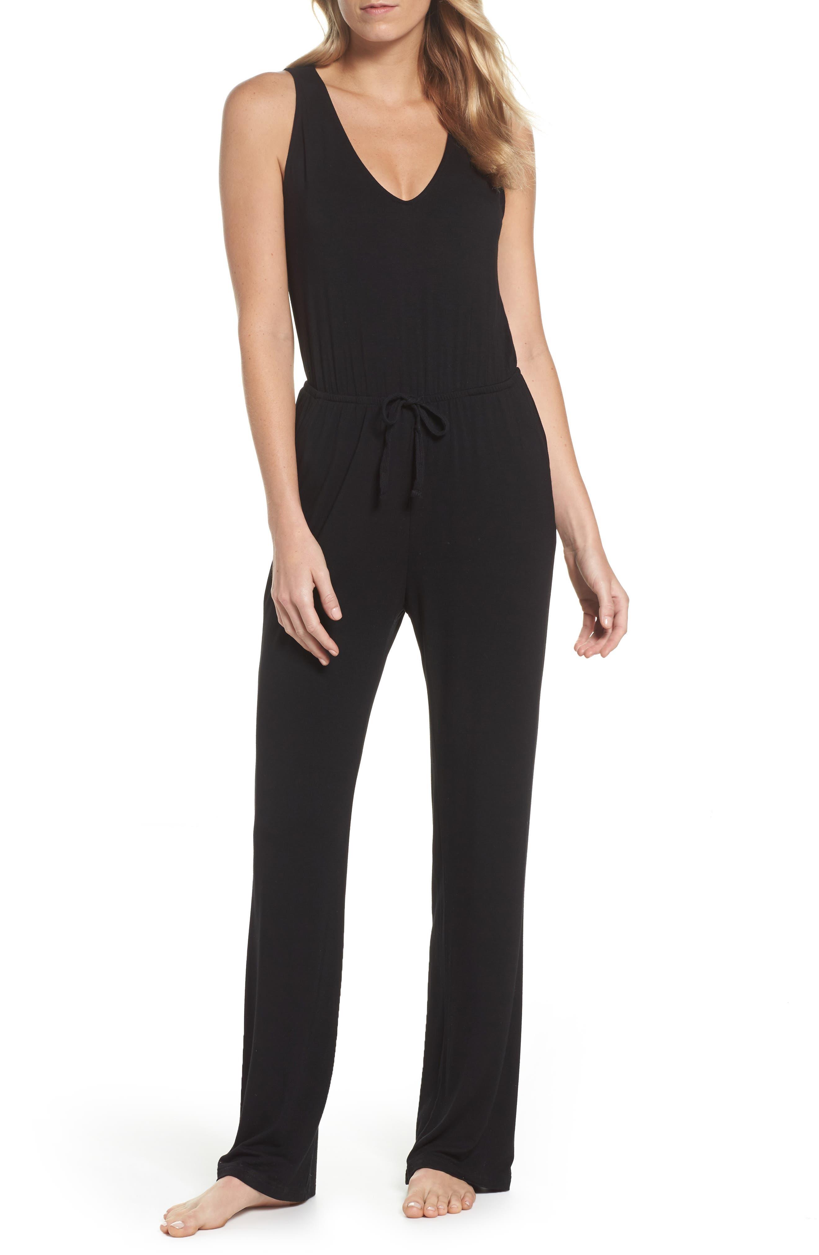 Catalina Knit Lounge Jumpsuit,                         Main,                         color, Black