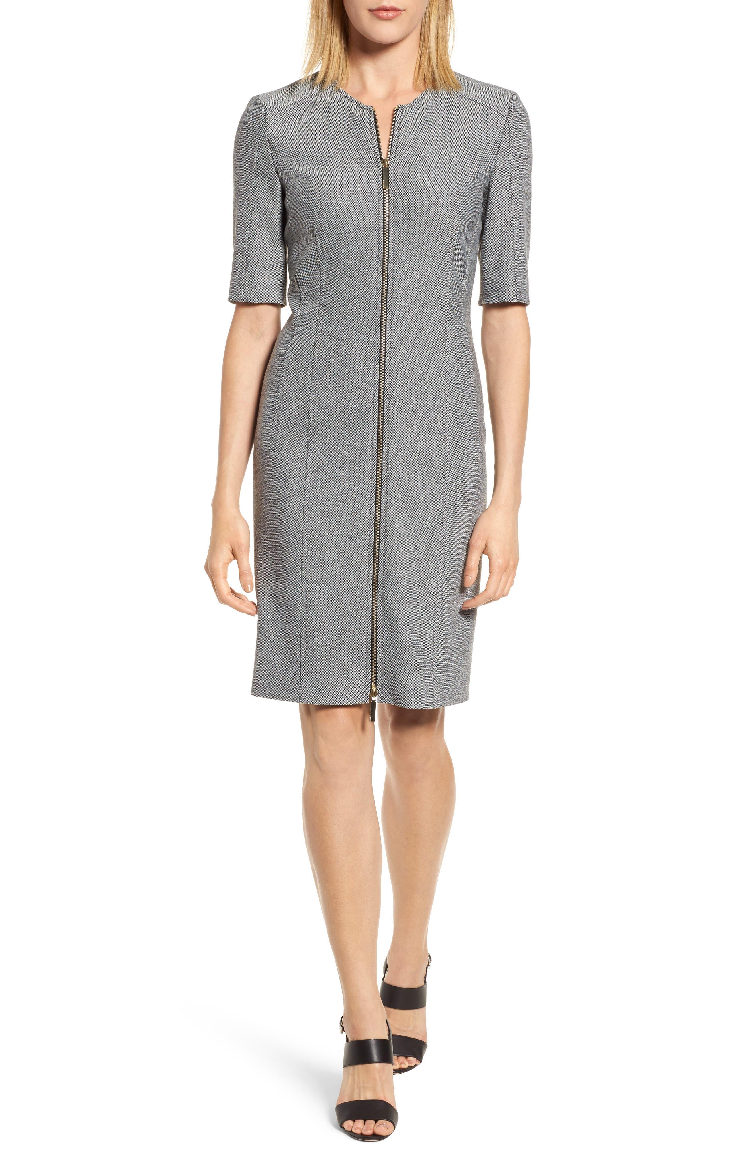 Main Image - BOSS Demirana Zip Front Sheath Dress (Regular & Petite)
