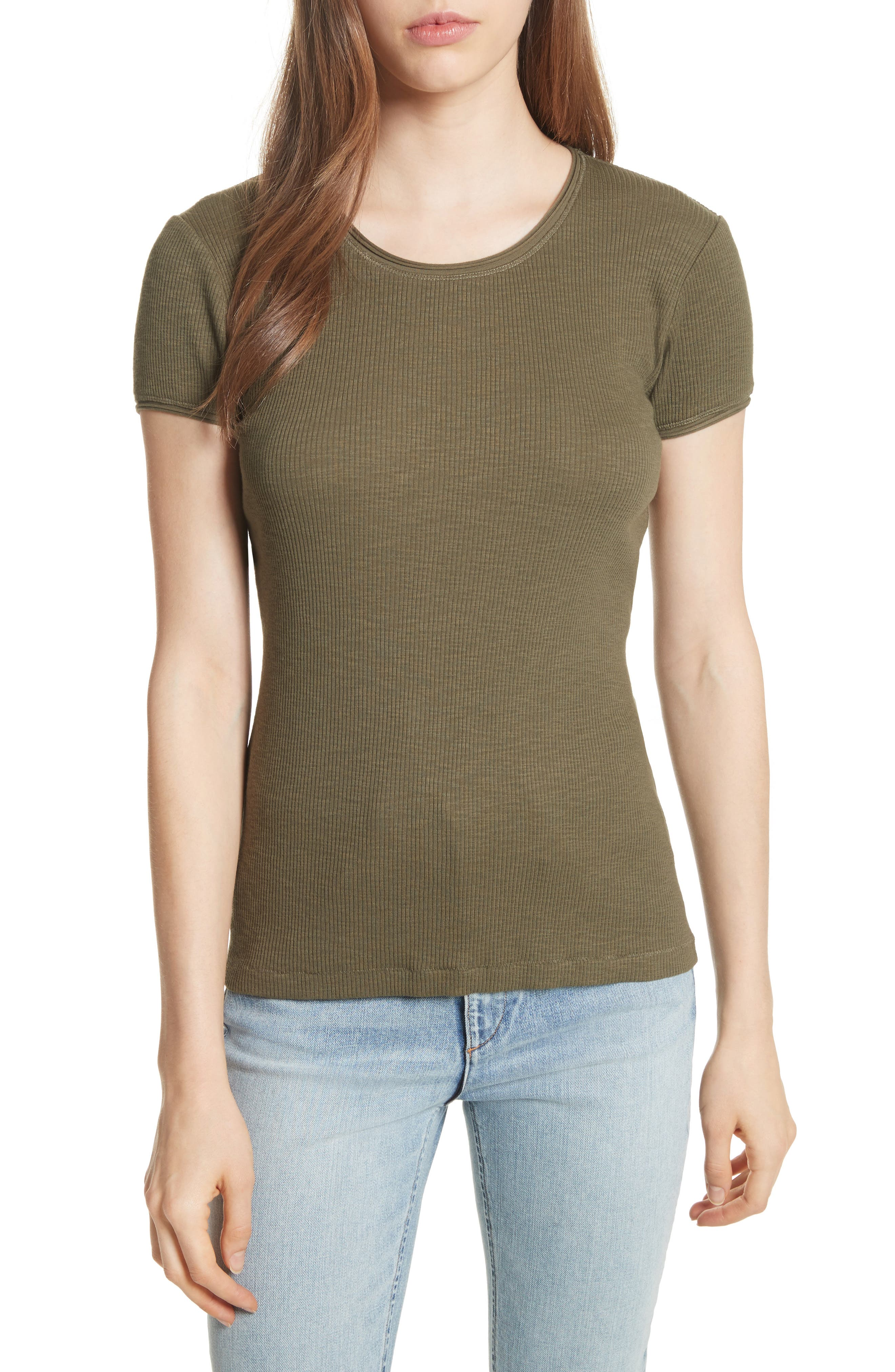 Lilies Tee,                             Main thumbnail 1, color,                             Dark Olive