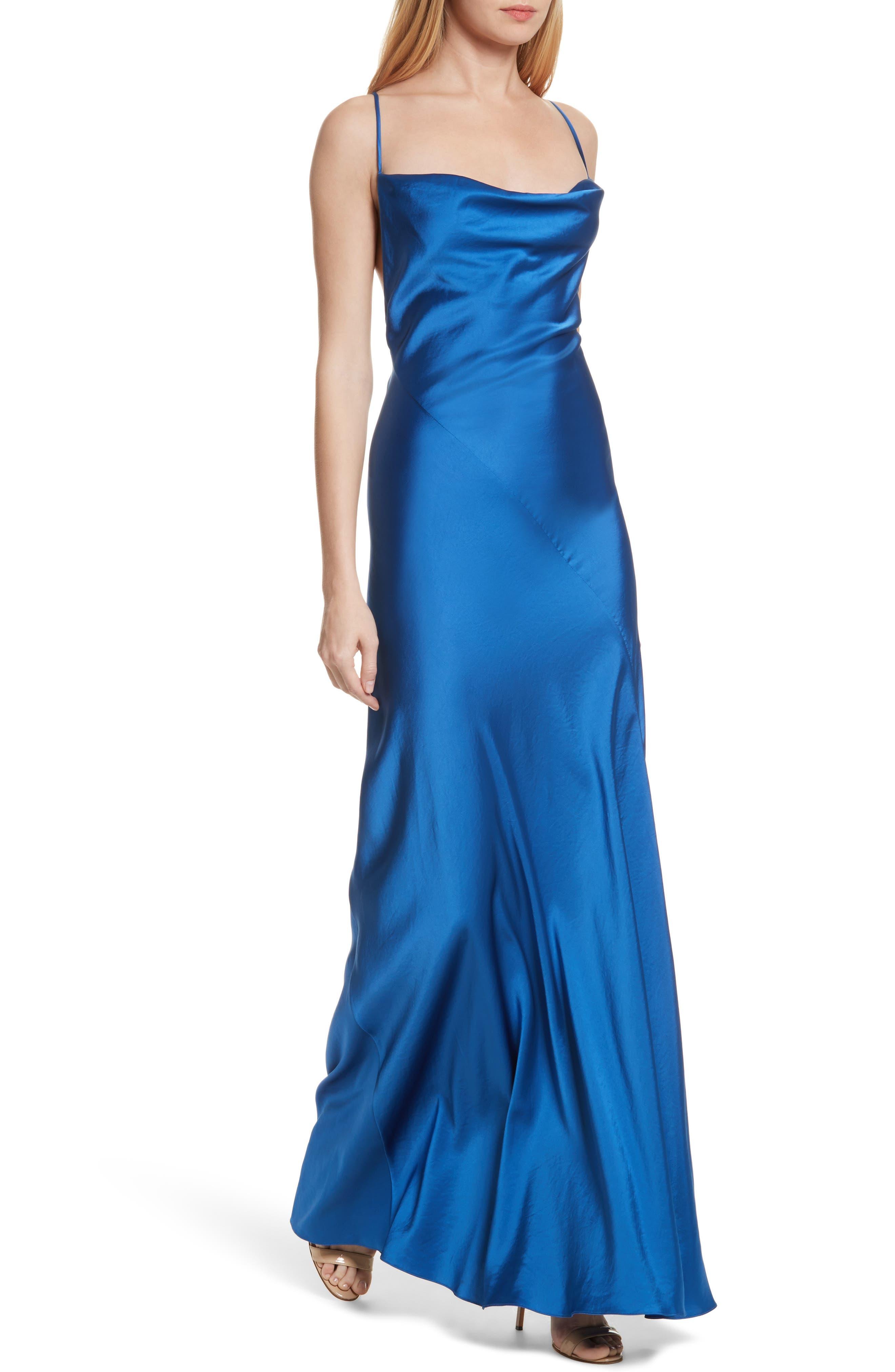 Diane von Furstenberg Open Back A-Line Gown,                             Alternate thumbnail 4, color,                             Cove