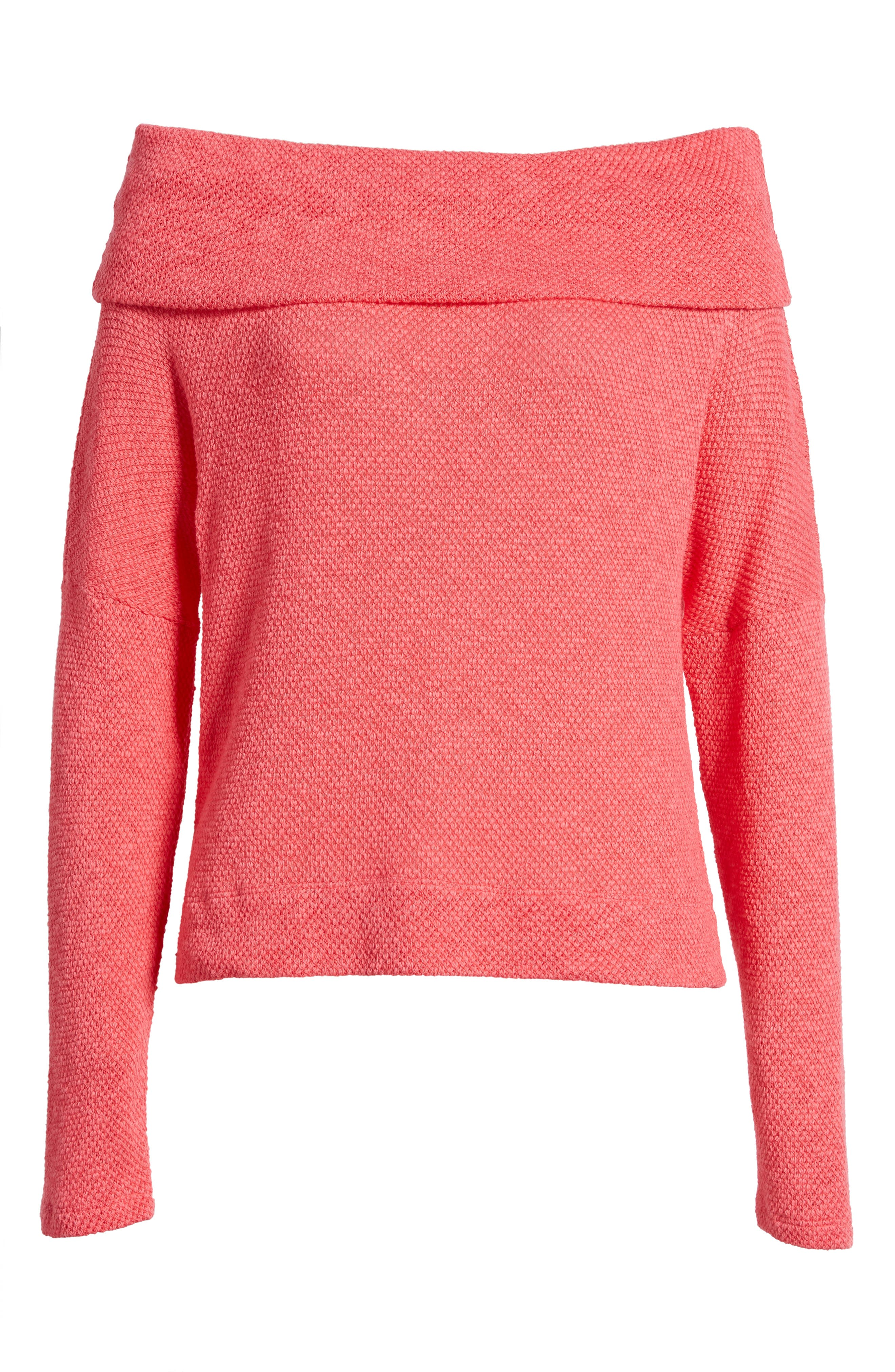 Convertible Neck Knit Pullover,                             Alternate thumbnail 7, color,                             Pink Ribbon
