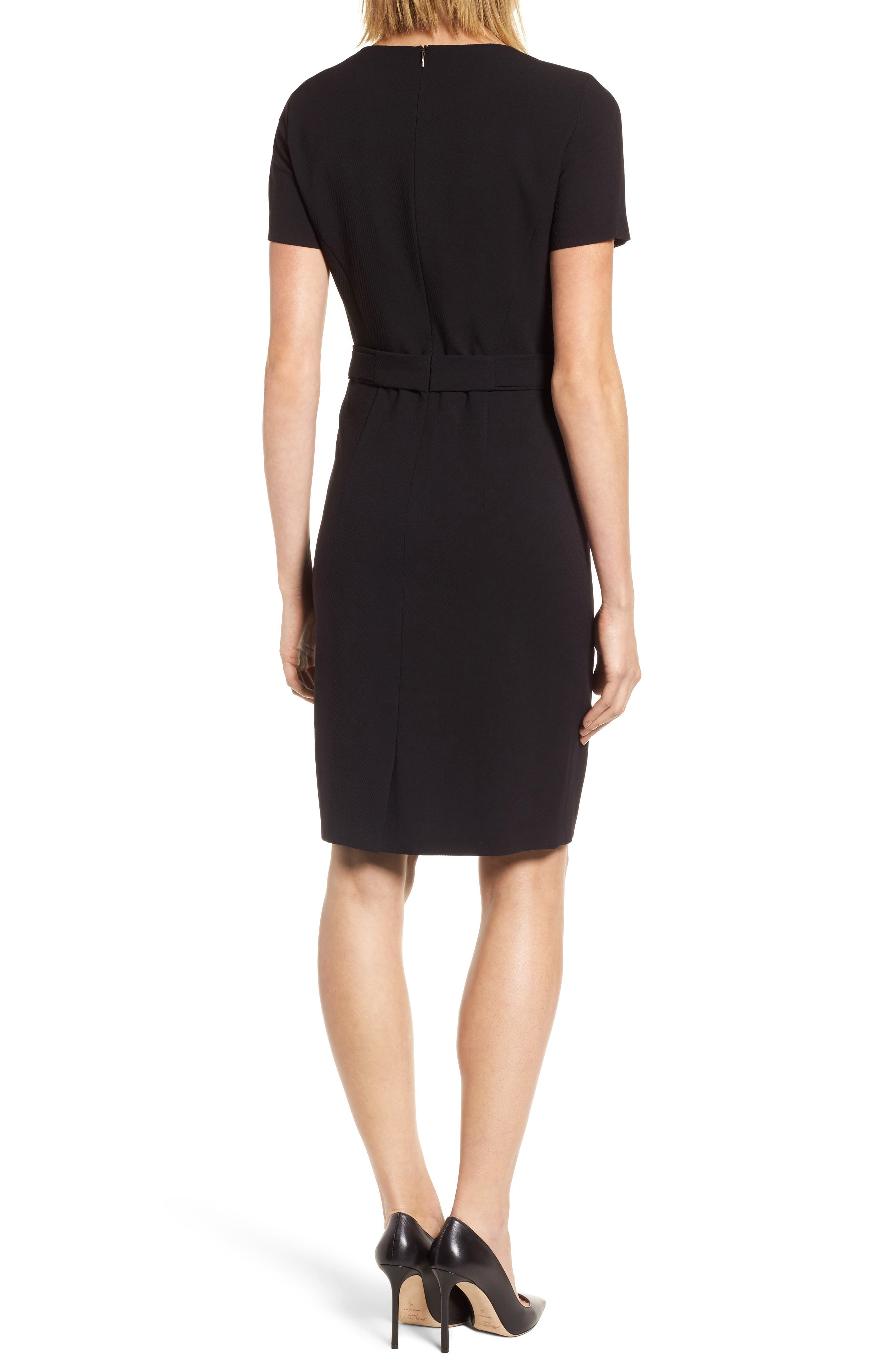 Desulea Stretch Wool Sheath Dress,                             Alternate thumbnail 2, color,                             Black