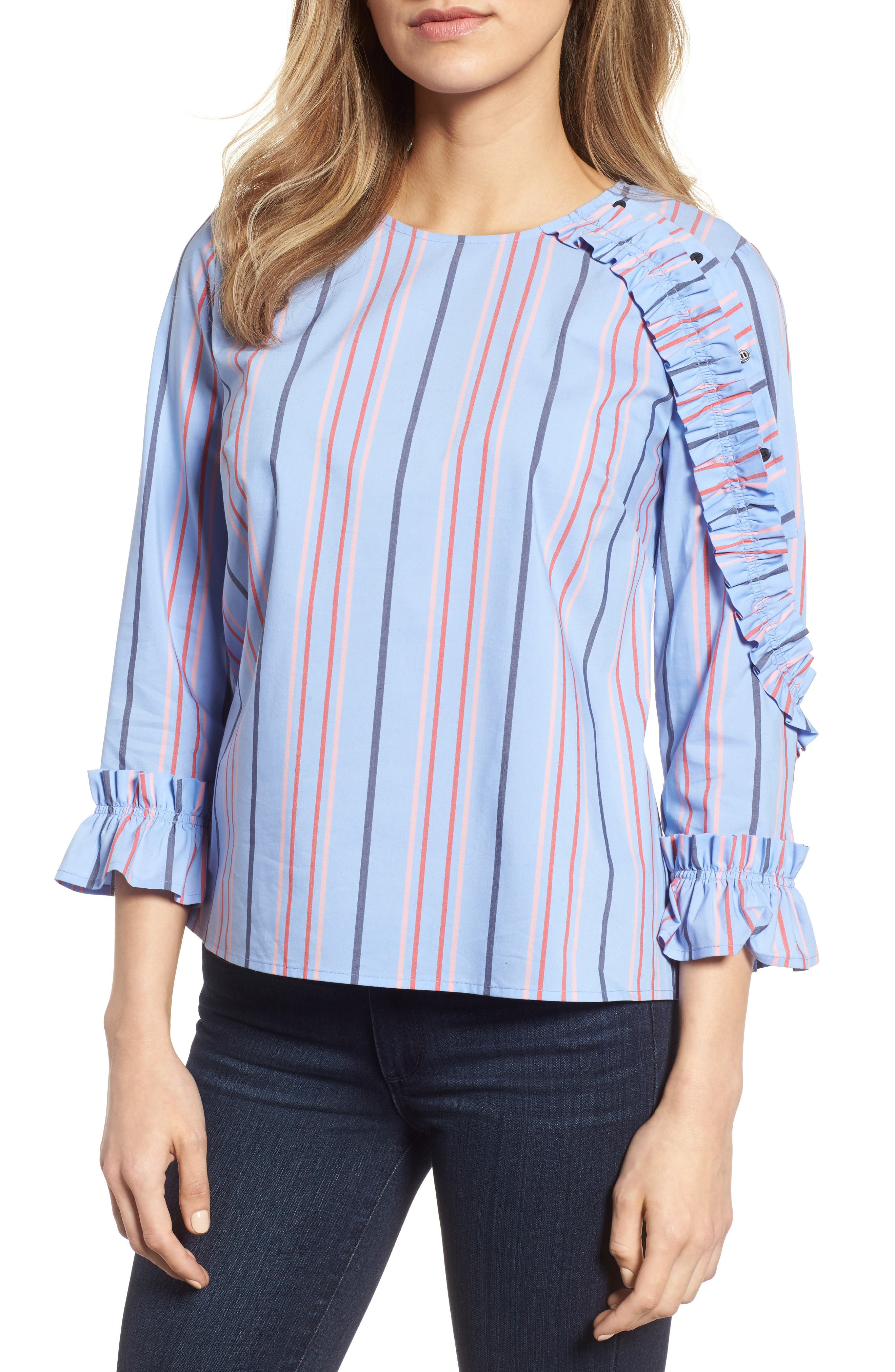 Ruffle Detail Poplin Shirt,                             Main thumbnail 1, color,                             Blue Multi Stripe