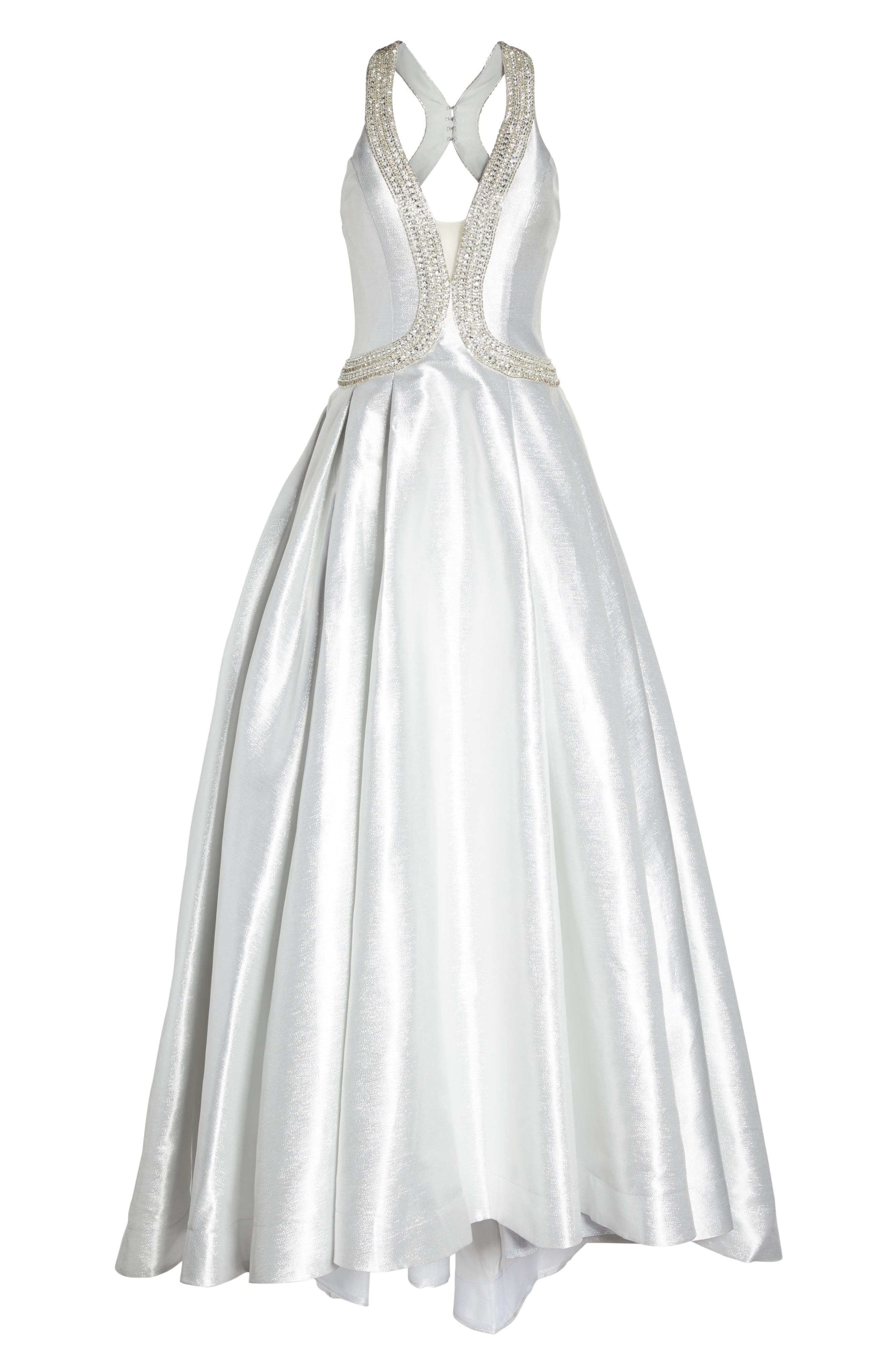 Beaded Halter Neck Ballgown,                             Alternate thumbnail 6, color,                             Ice Ice Baby