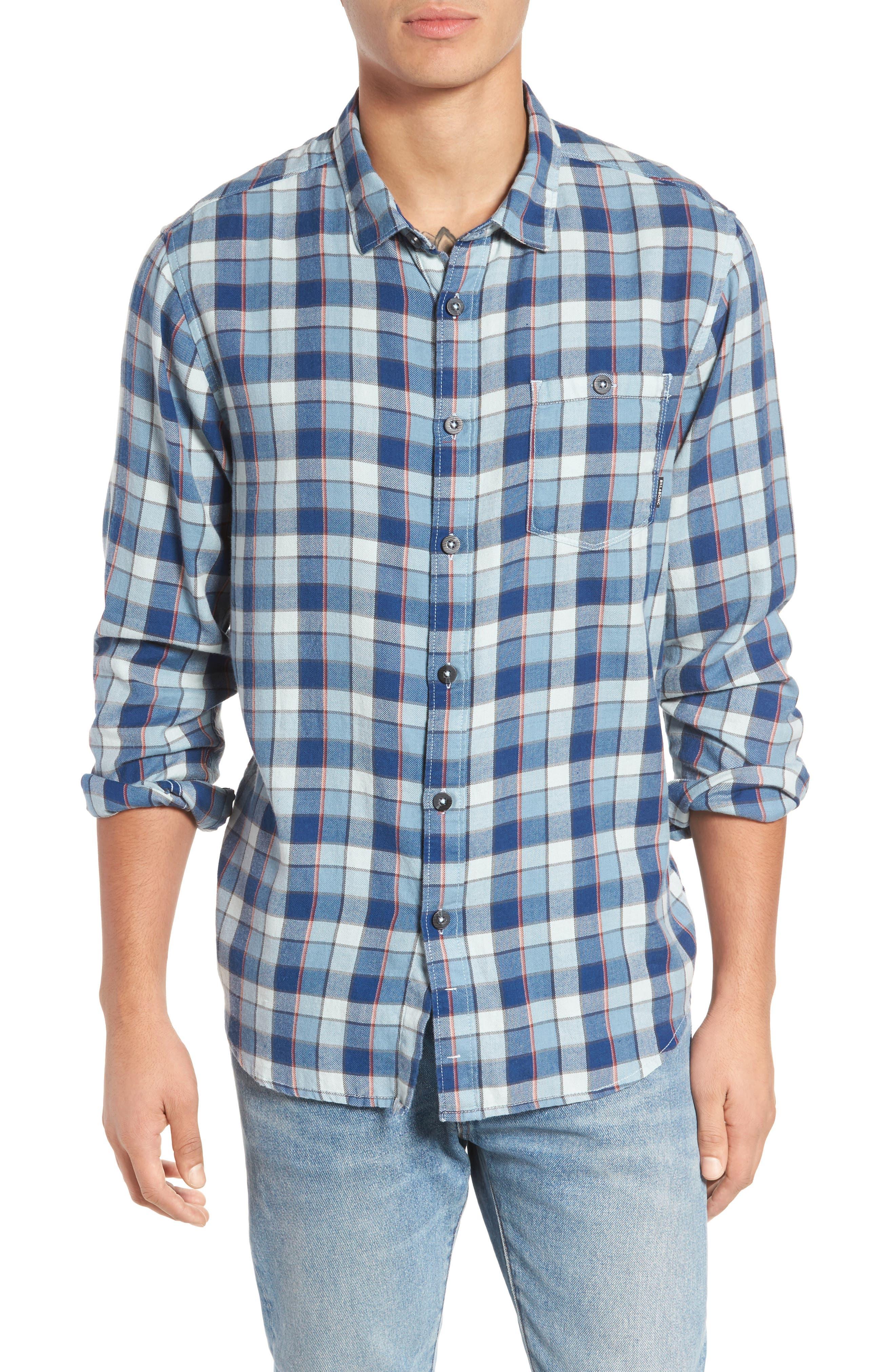 Bilabong Freemont Flannel Shirt,                         Main,                         color, Blue
