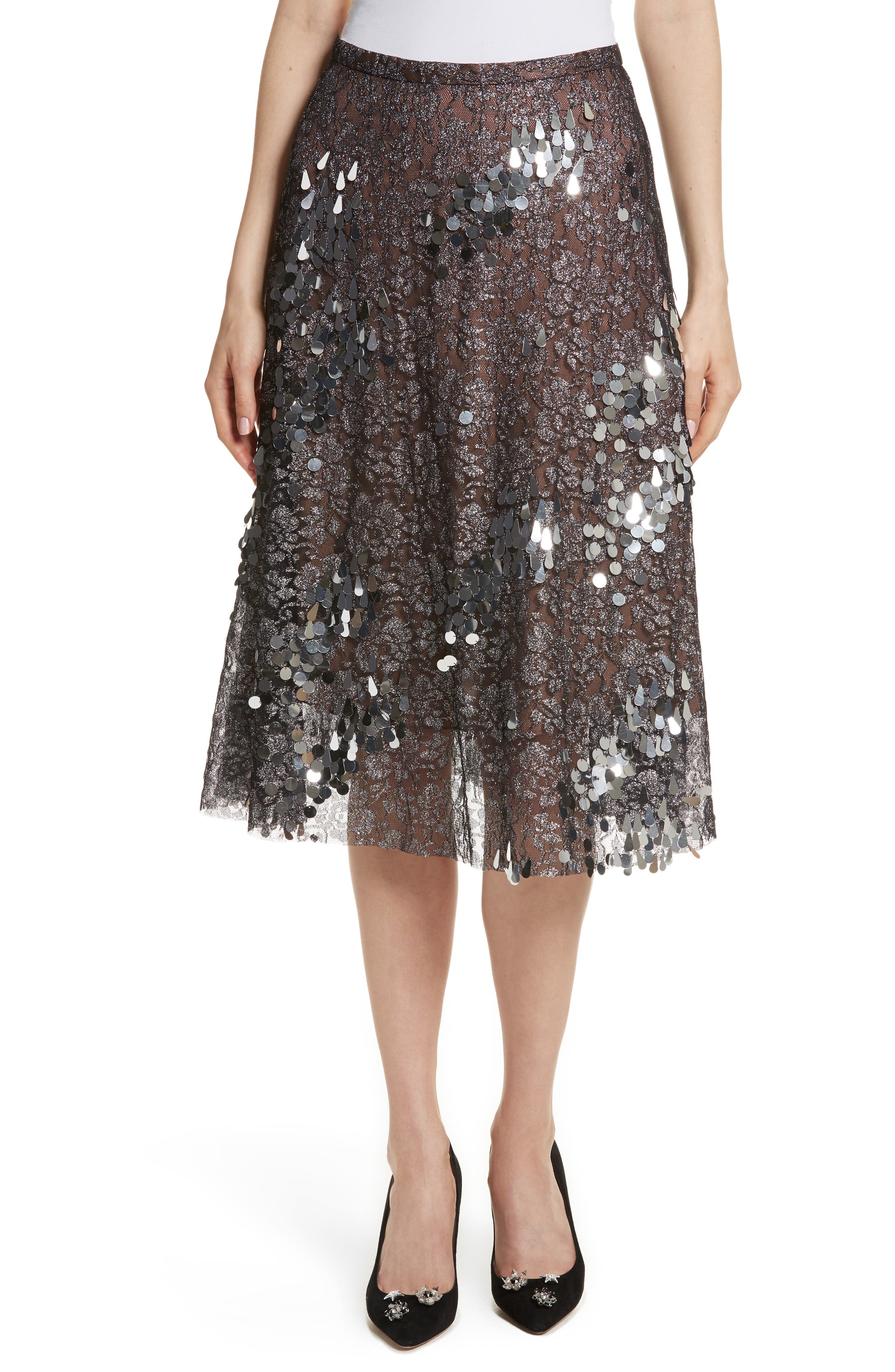 Sequin Flared Skirt,                         Main,                         color, Antique Silver