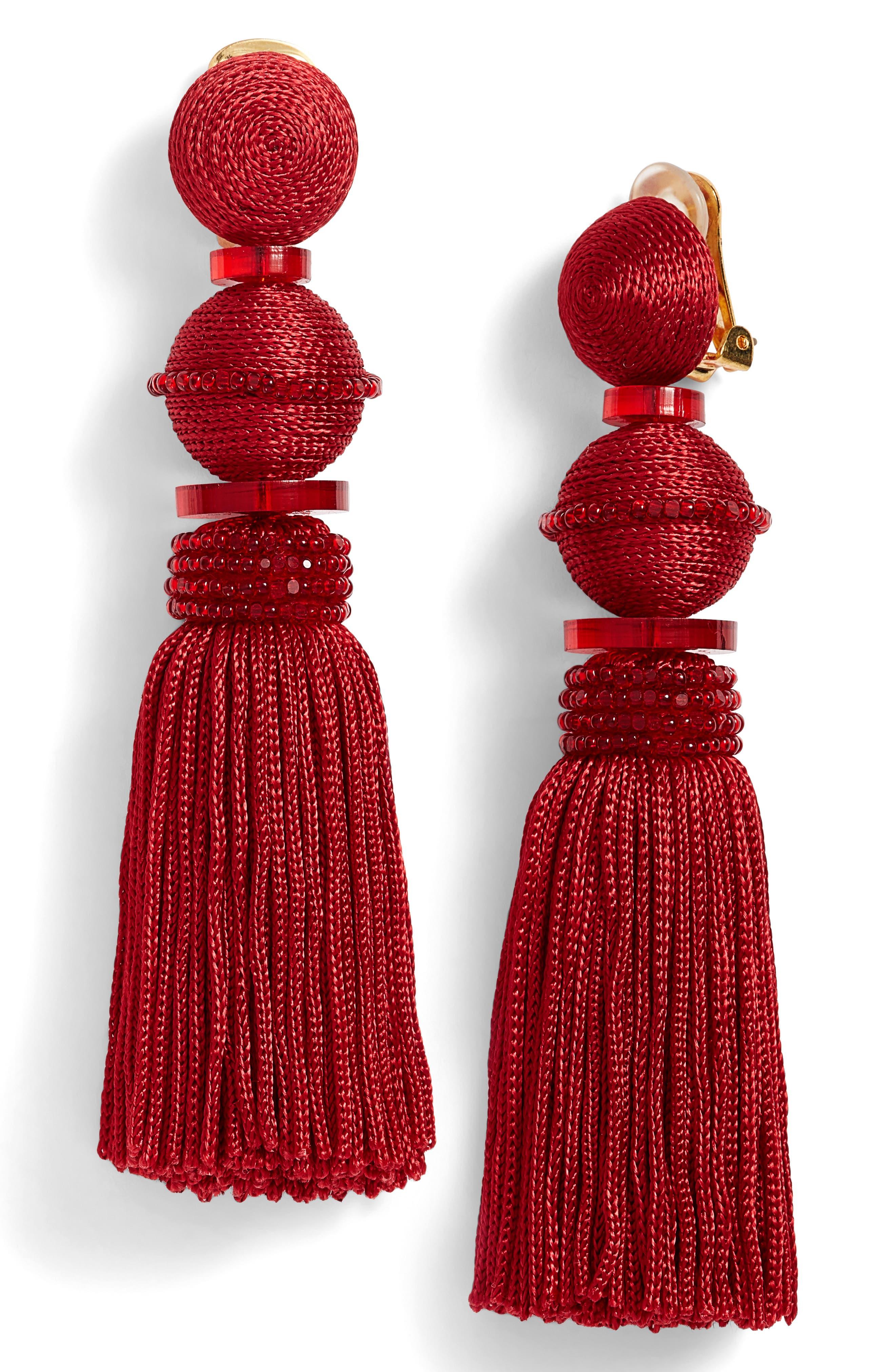 Alternate Image 1 Selected - Oscar de la Renta Clip Tassel Drop Earrings