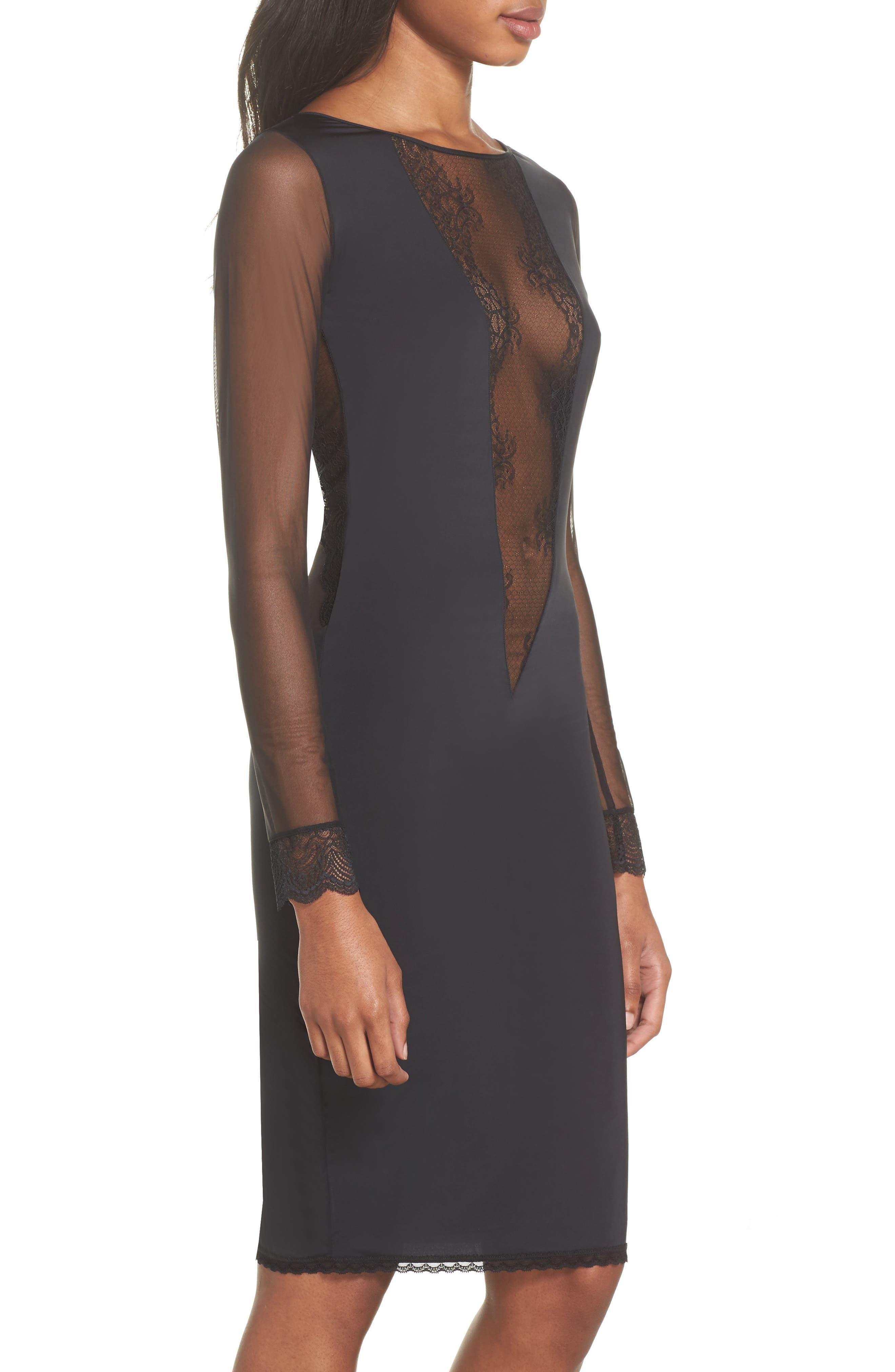 La Directrice Sheer Dress,                             Alternate thumbnail 3, color,                             Black