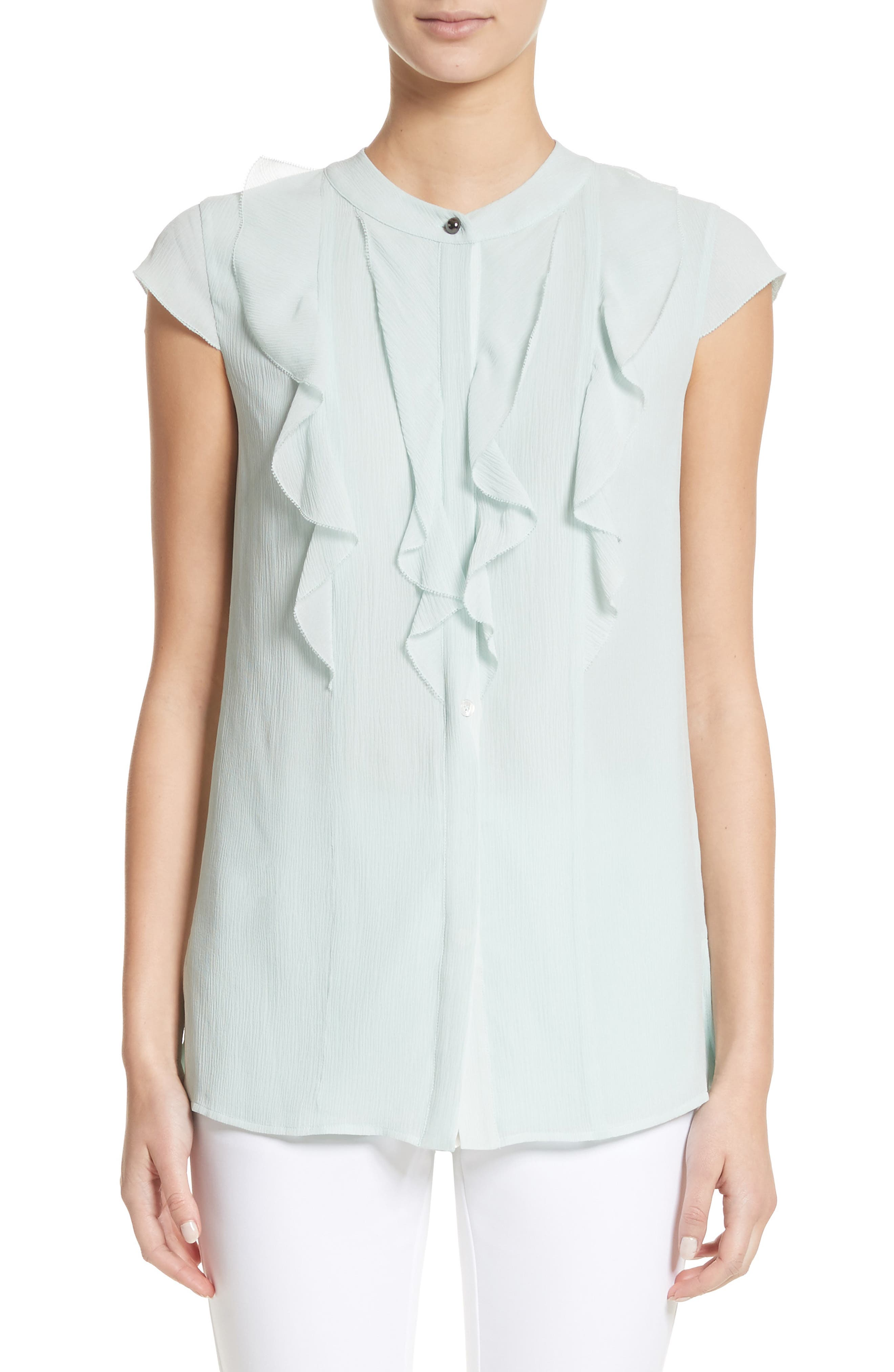 St. John Collection Crinkle Silk Georgette Blouse