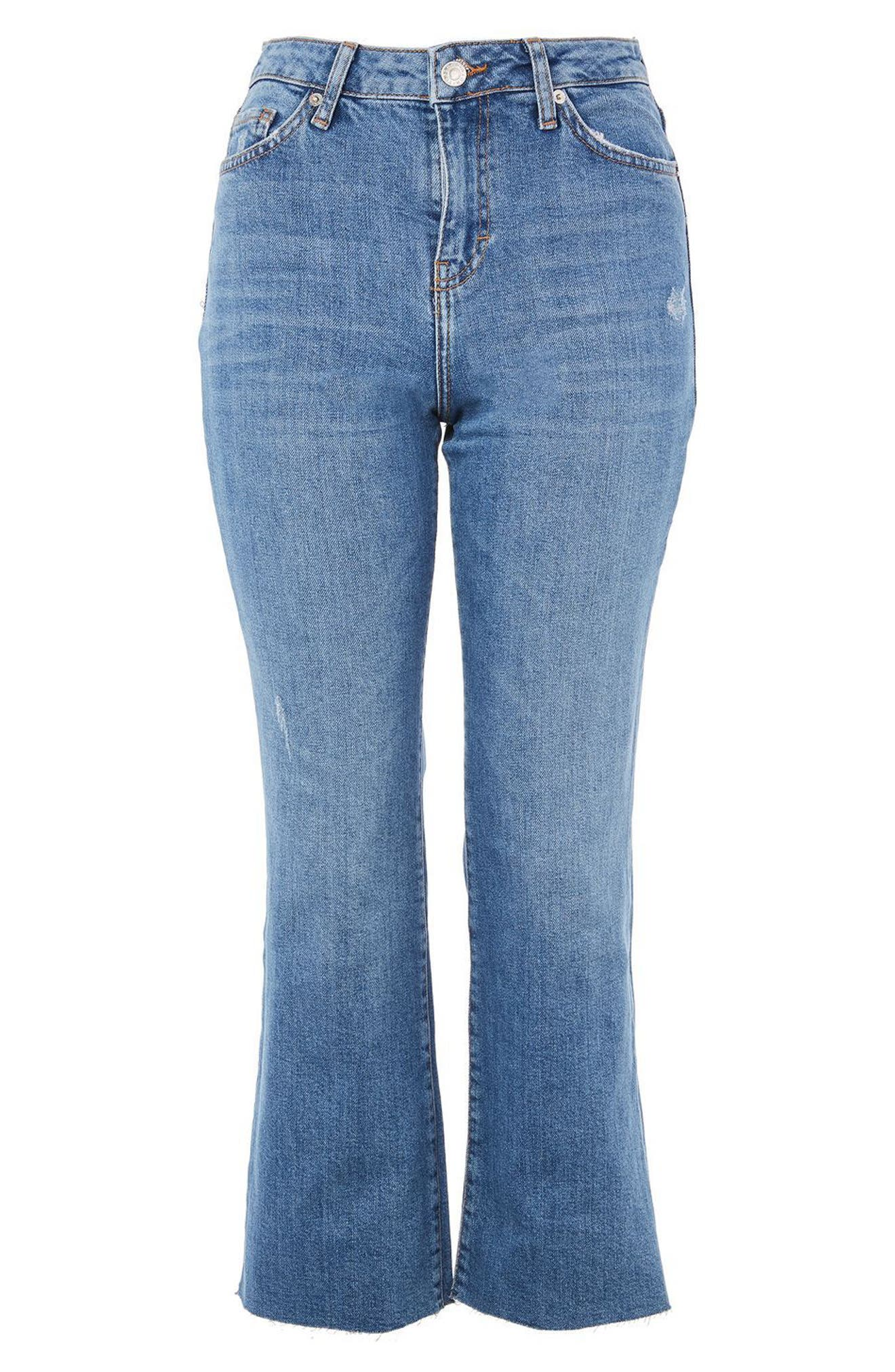 Dree Crop Flare Jeans,                             Alternate thumbnail 3, color,                             Mid Denim