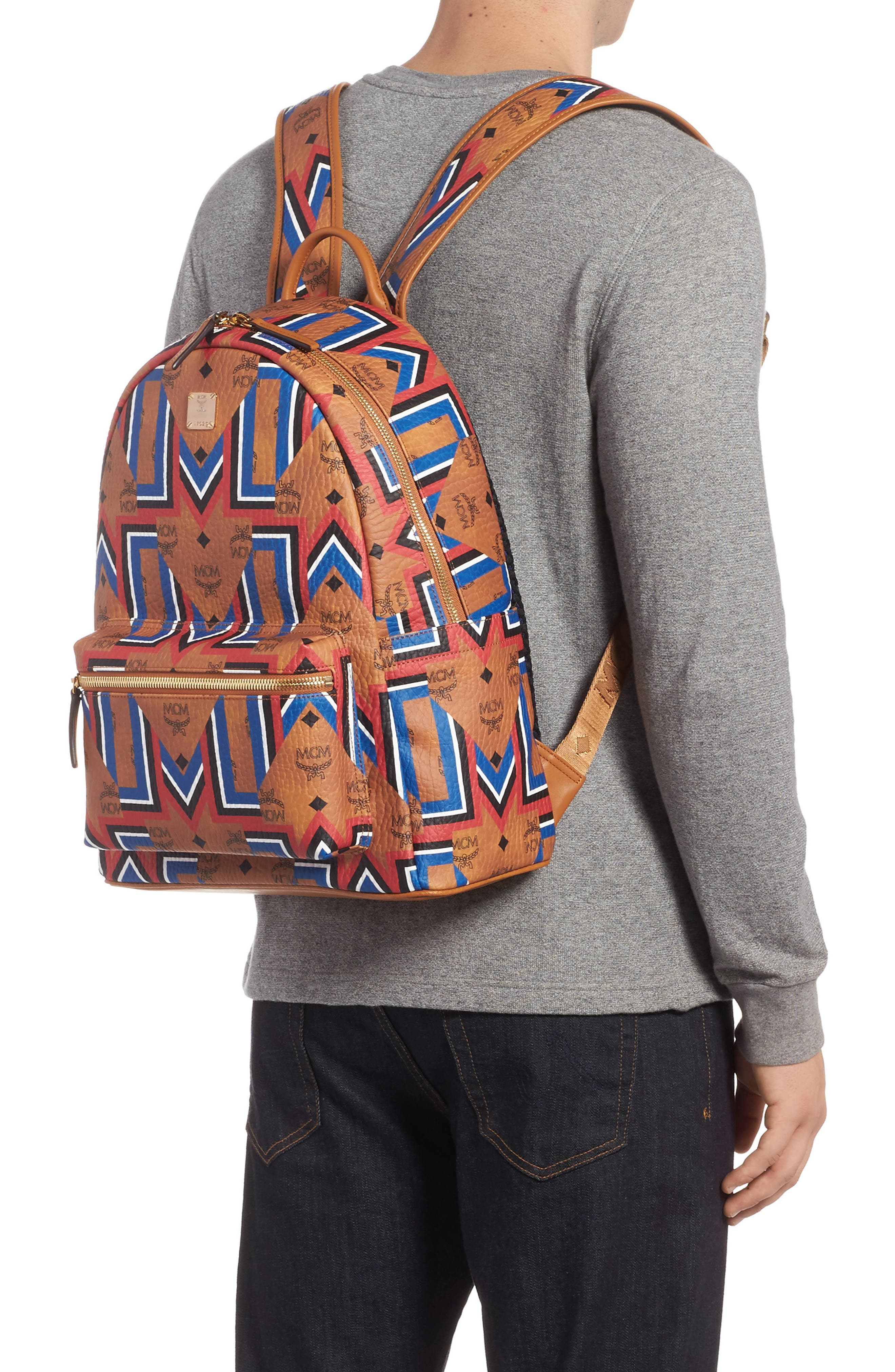 Stark Gunta Visetos Print Faux Leather Backpack,                             Alternate thumbnail 2, color,                             Cognac