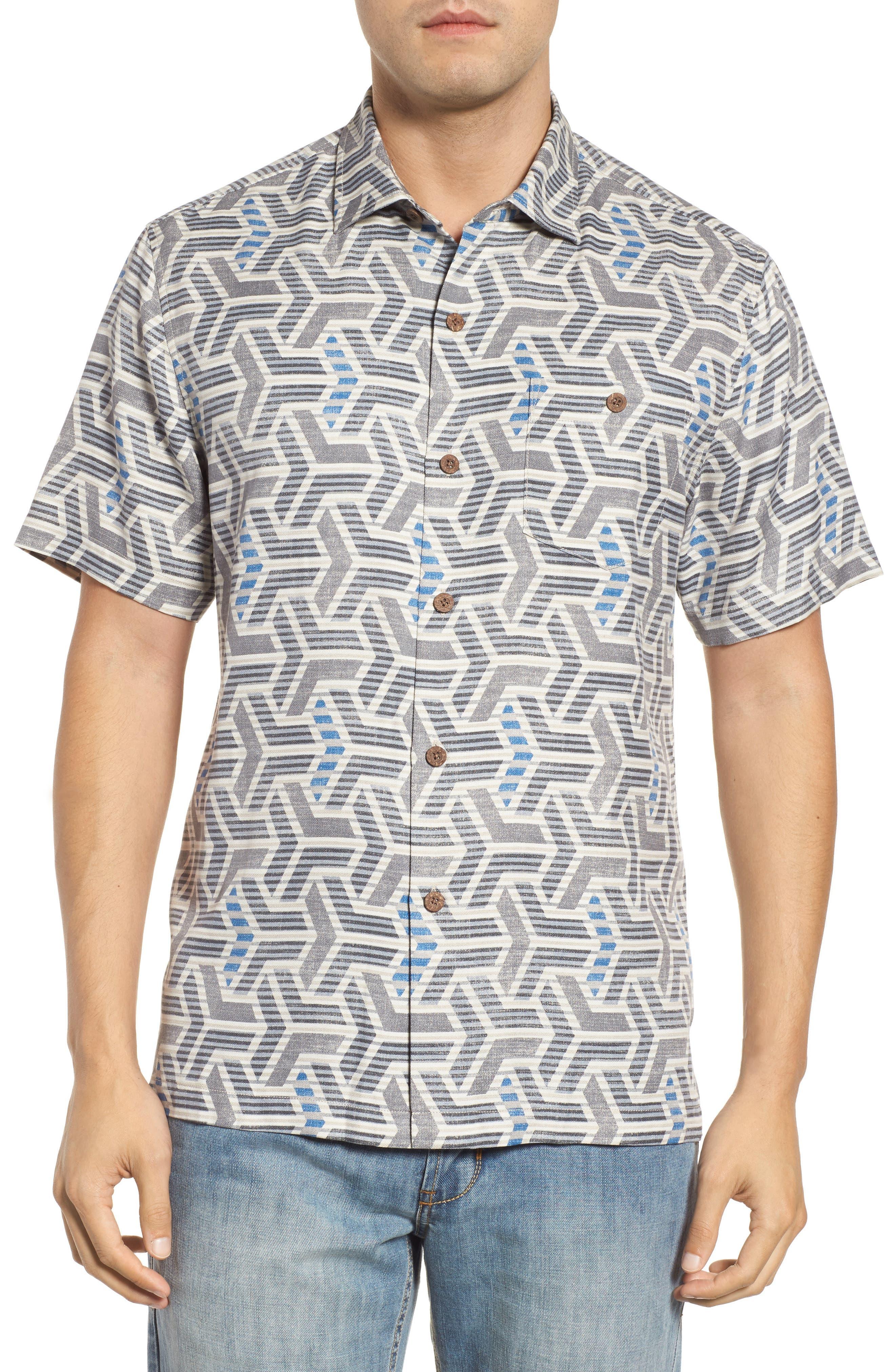 Wellington Geometric Print Sport Shirt,                         Main,                         color, Fog Grey