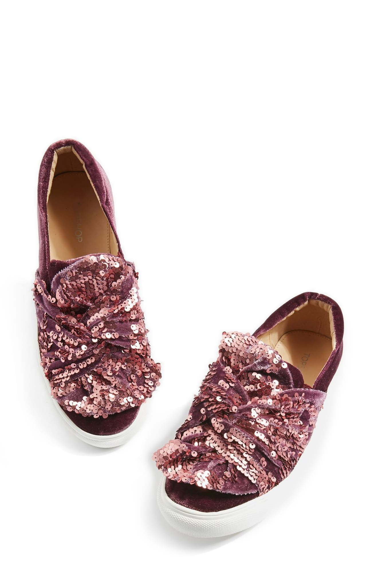 Twisted Sequin Velvet Sneakers,                             Main thumbnail 1, color,                             Pink