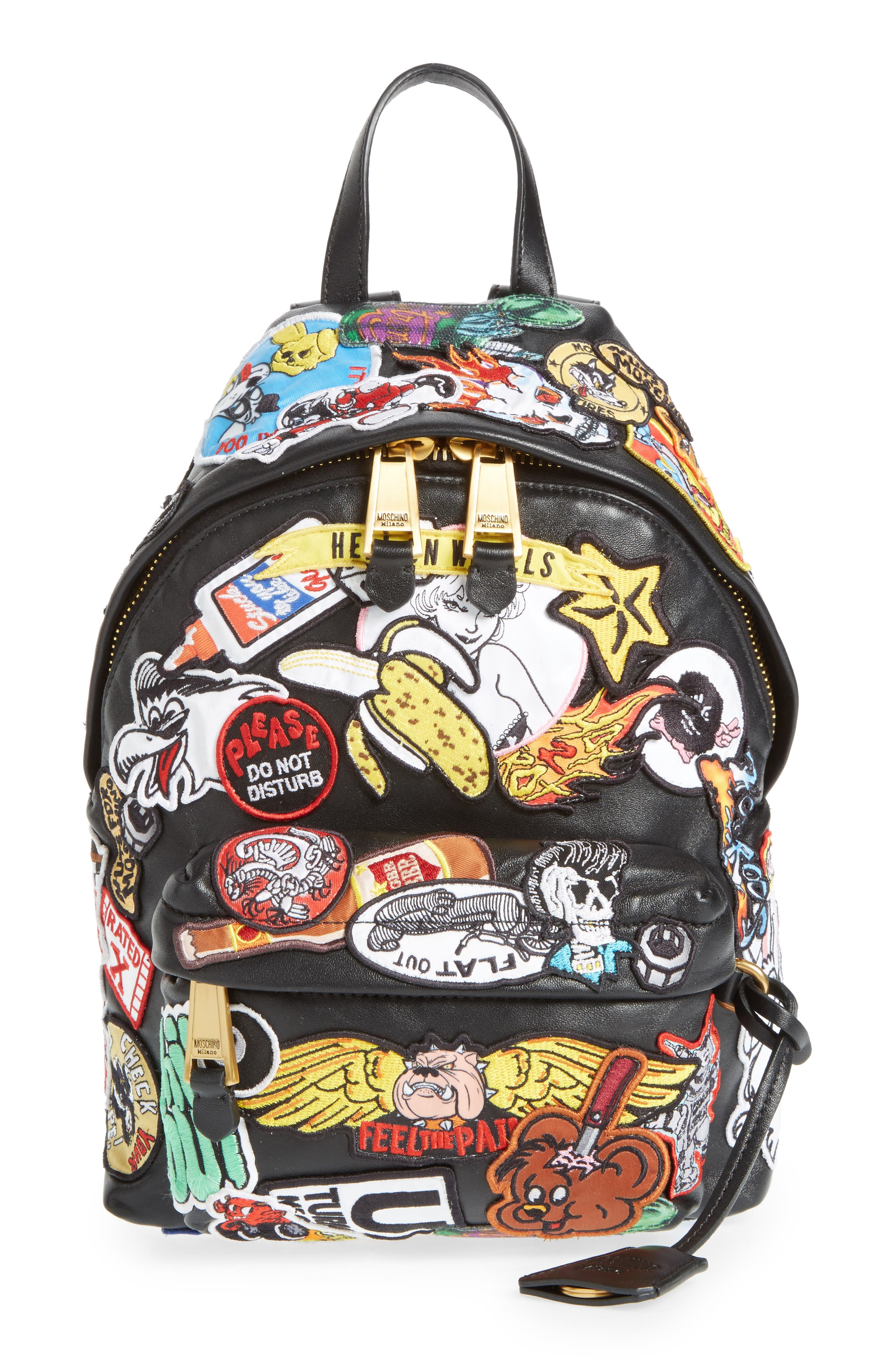 Multi Patch Leather Backpack,                             Main thumbnail 1, color,                             Black Multi