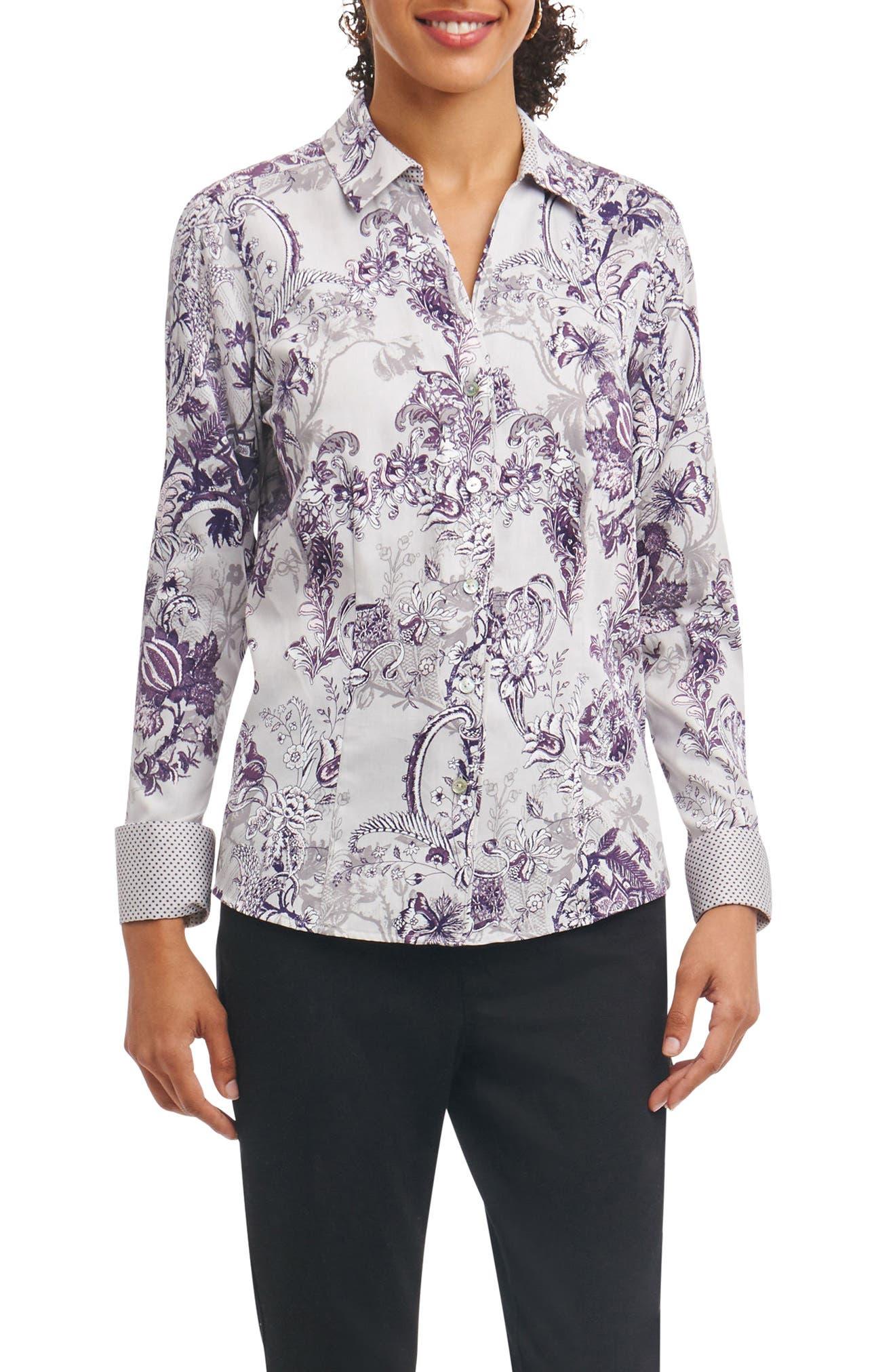 Alternate Image 1 Selected - Foxcroft Lauren Floral Tapestry Wrinkle Free Shirt (Regular & Petite)