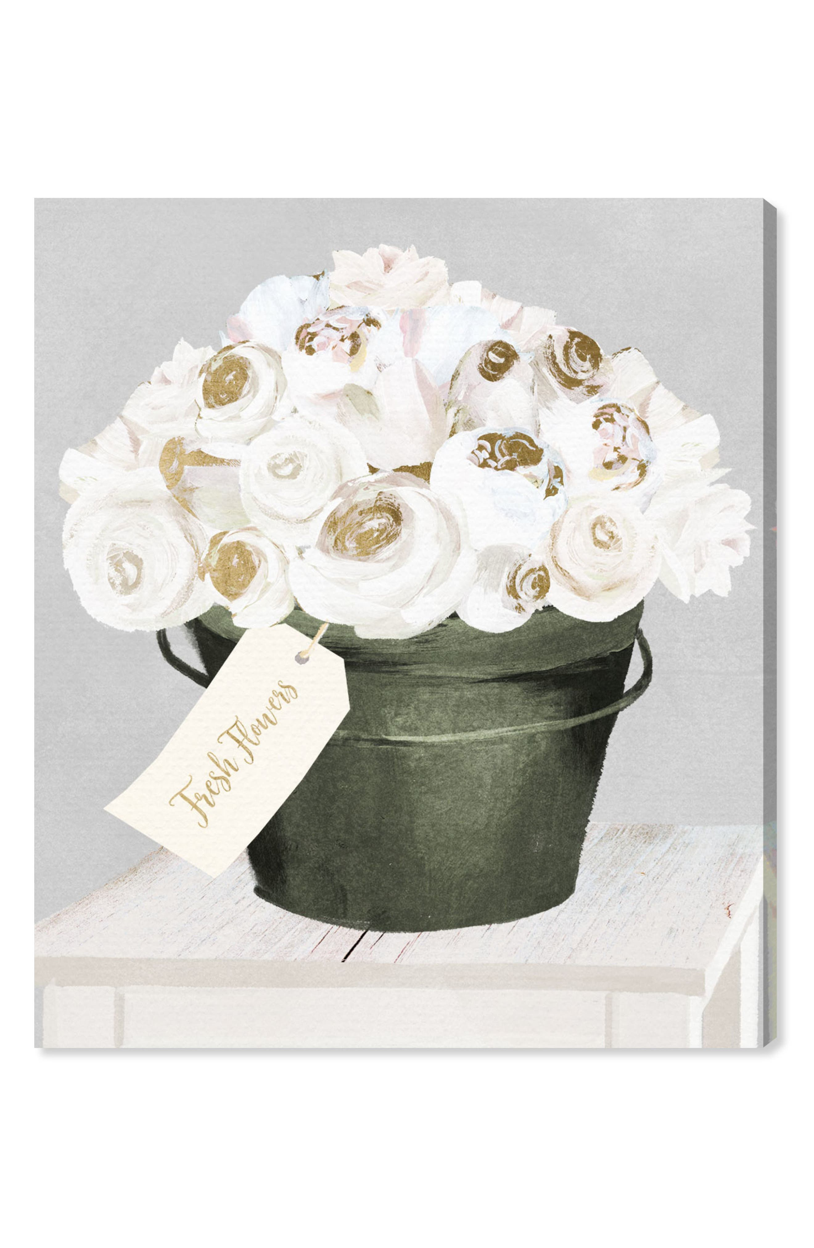 Bucket Full of Gold Roses Canvas Wall Art,                         Main,                         color, White